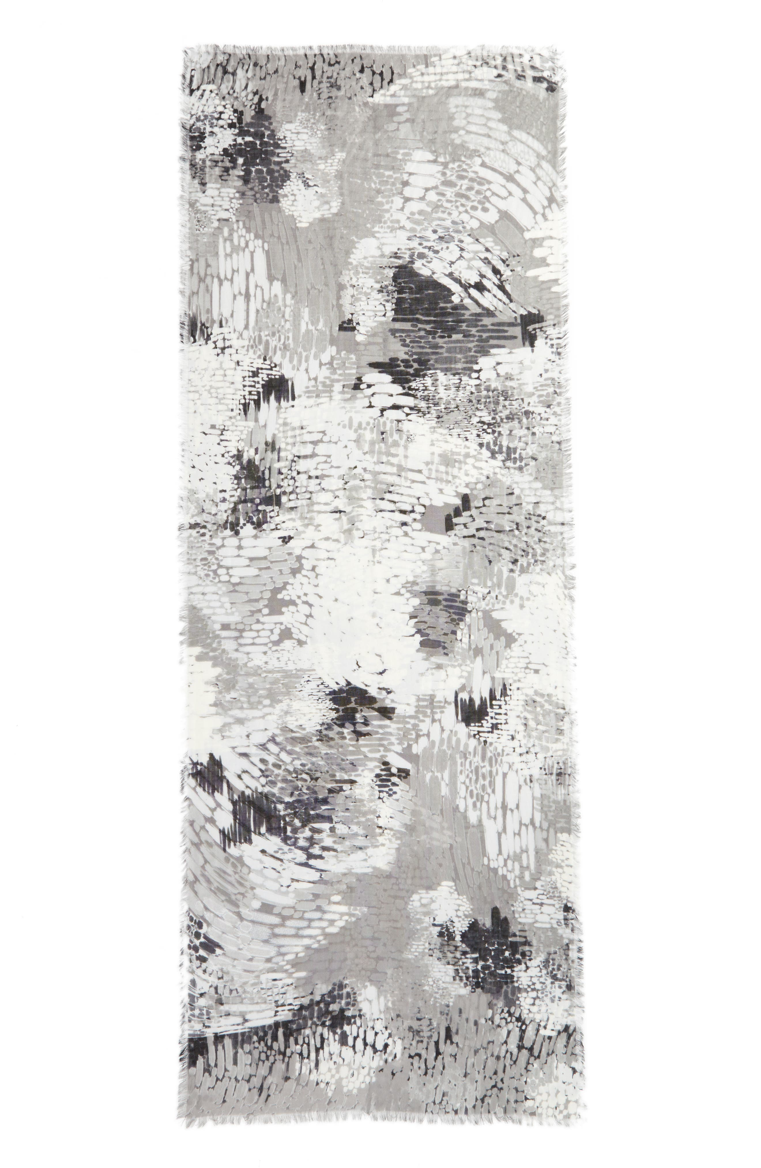 Eyelash Trim Print Cashmere & Silk Wrap,                             Alternate thumbnail 3, color,                             Grey Linear Abstraction
