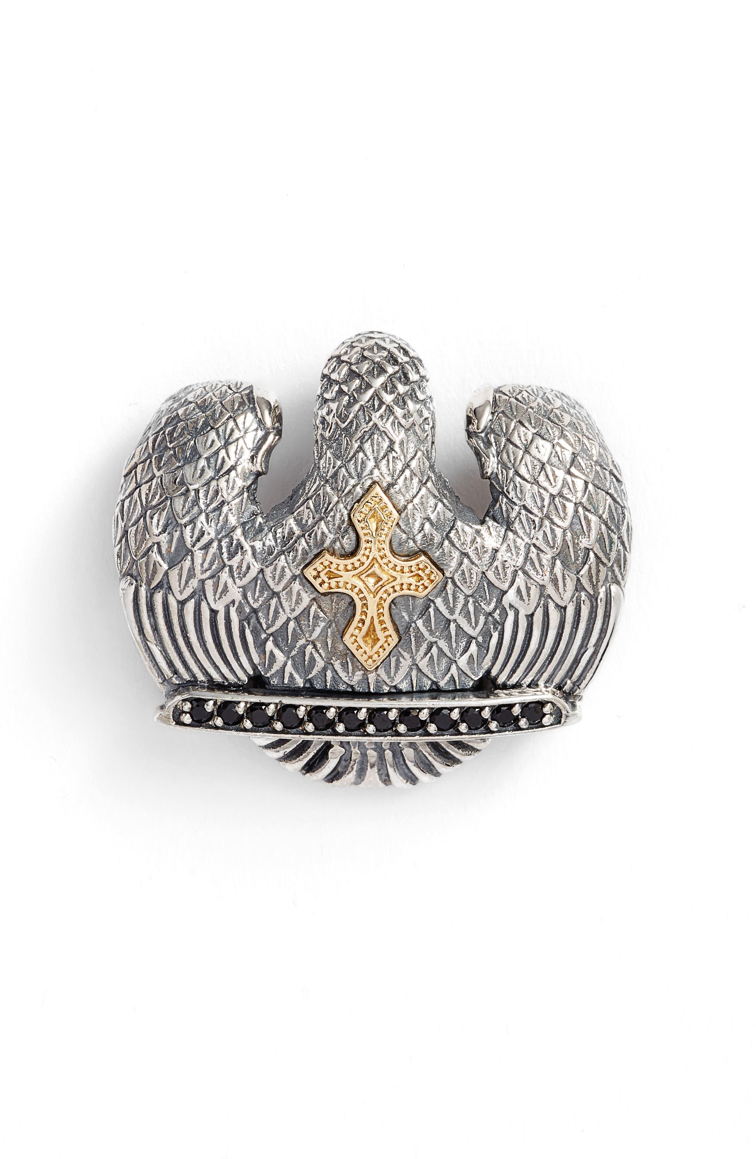 Heonos Two-Tone Eagle Pendant,                             Alternate thumbnail 2, color,                             Silver/ Gold