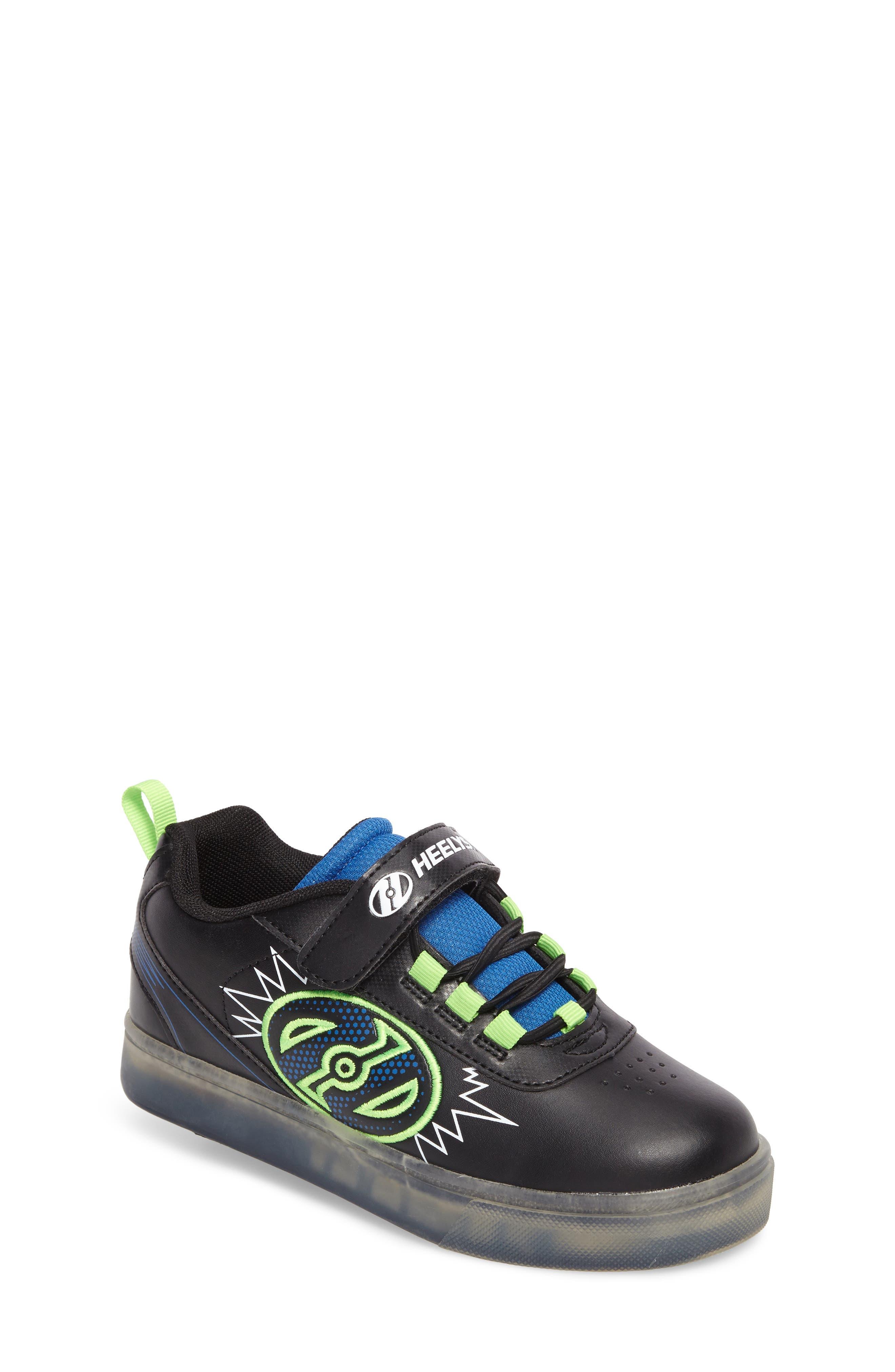 Pow X2 Light-Up Wheeled Skate Sneaker,                             Main thumbnail 1, color,                             Black/ Blue/ Green