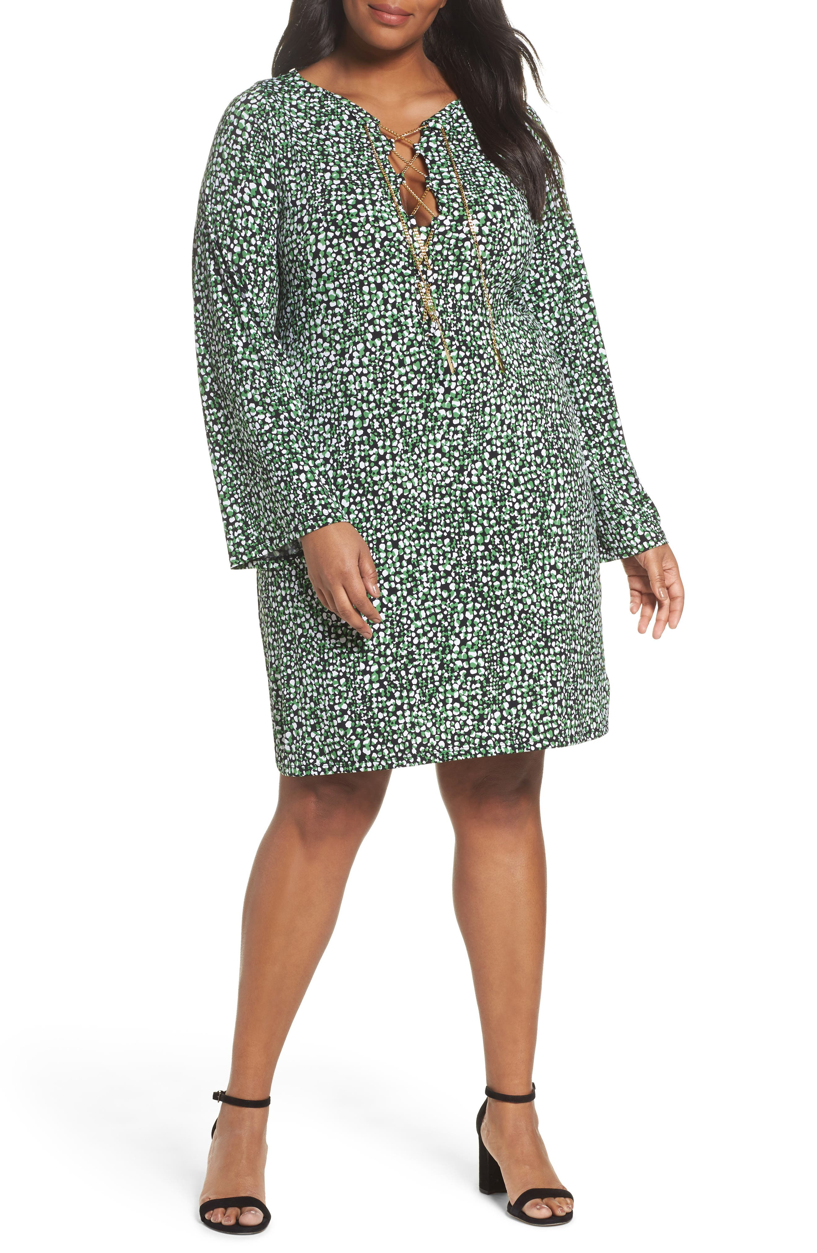 MICHAEL Michael Kors Chain Neck Print Shift Dress (Plus Size)