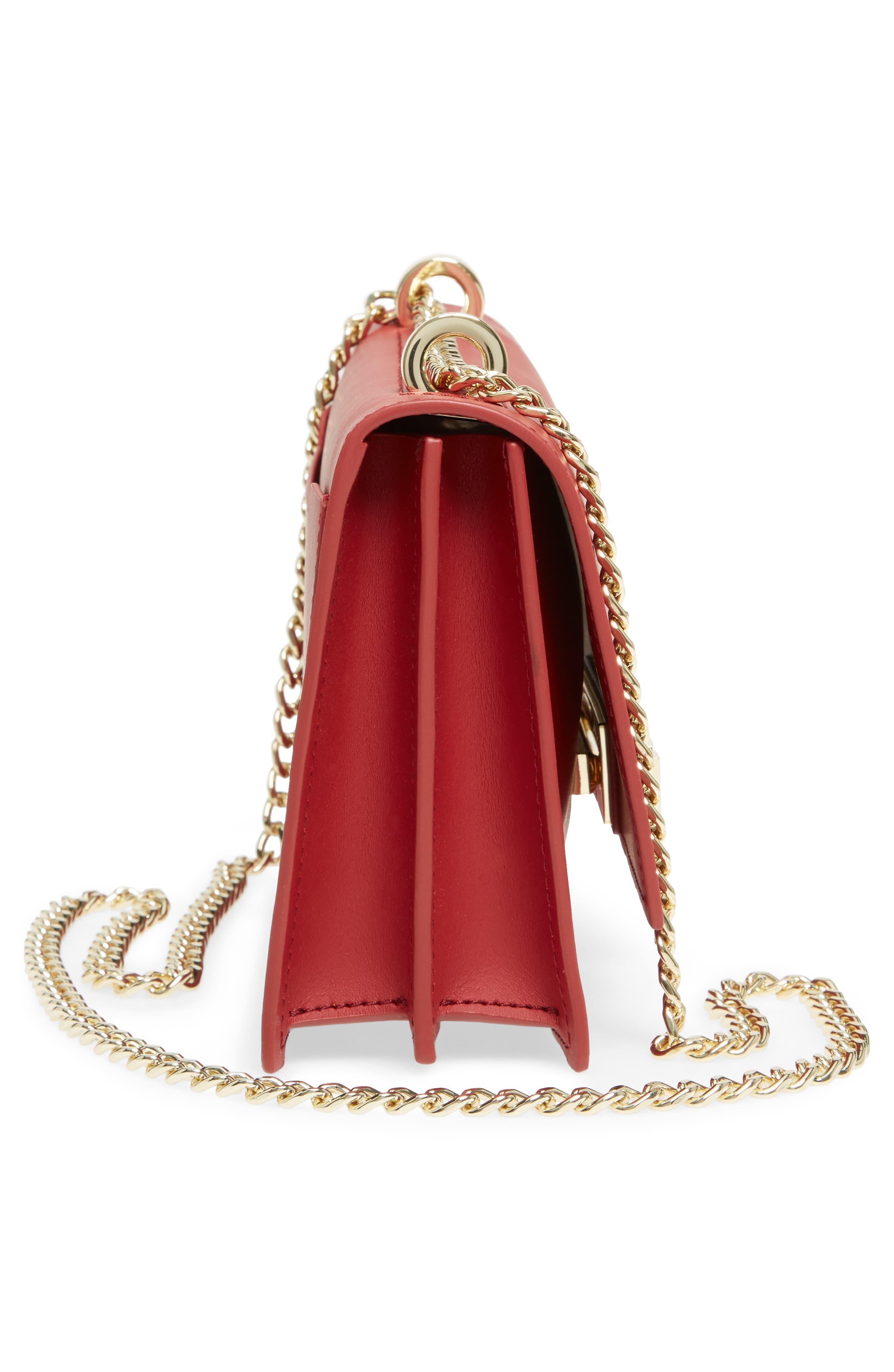 ZAC Zac Posen Earthette Leather Accordion Bag,                             Alternate thumbnail 5, color,                             Red
