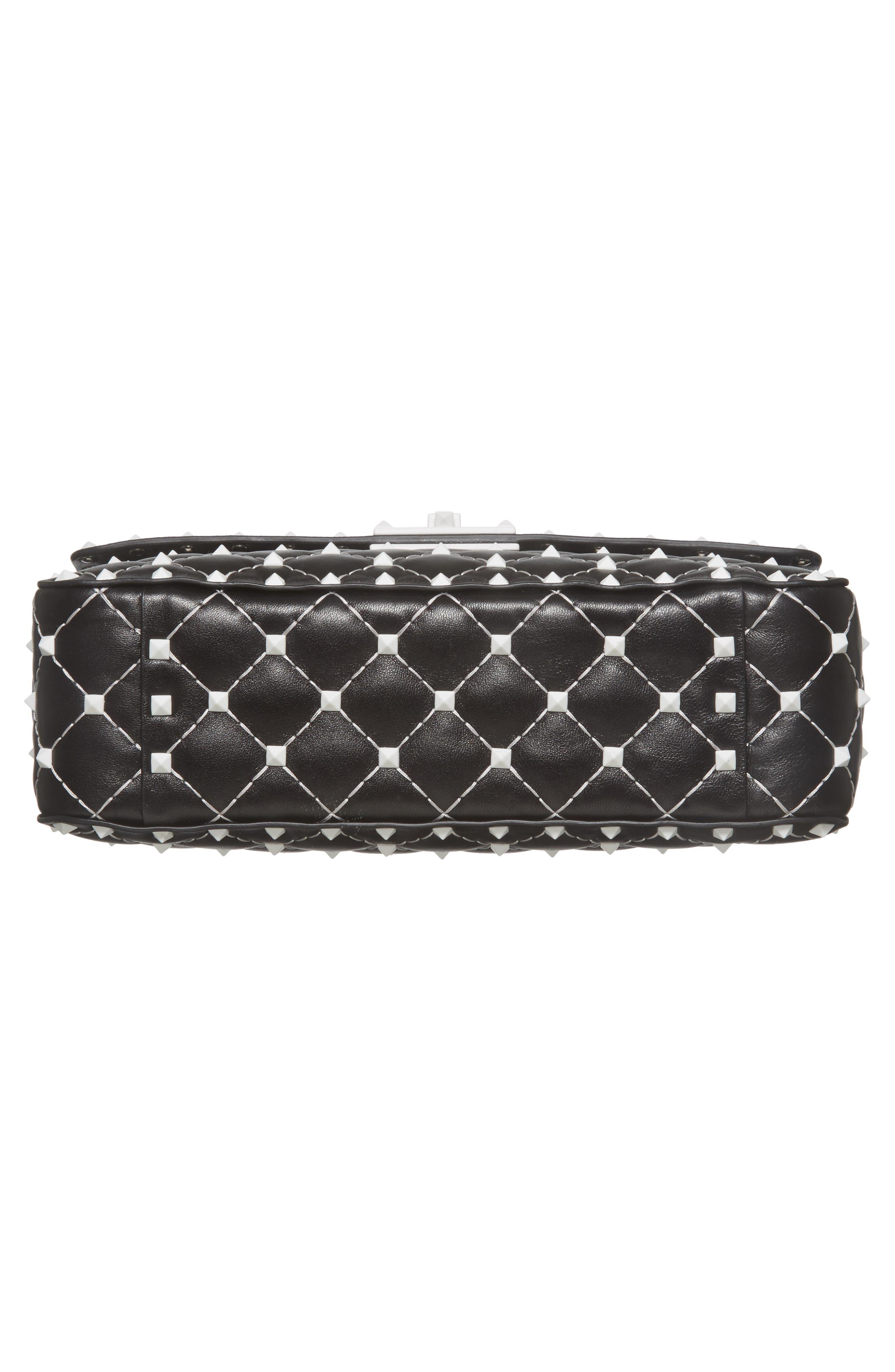 Medium Rockstud Matelassé Leather Shoulder Bag,                             Alternate thumbnail 6, color,                             Black