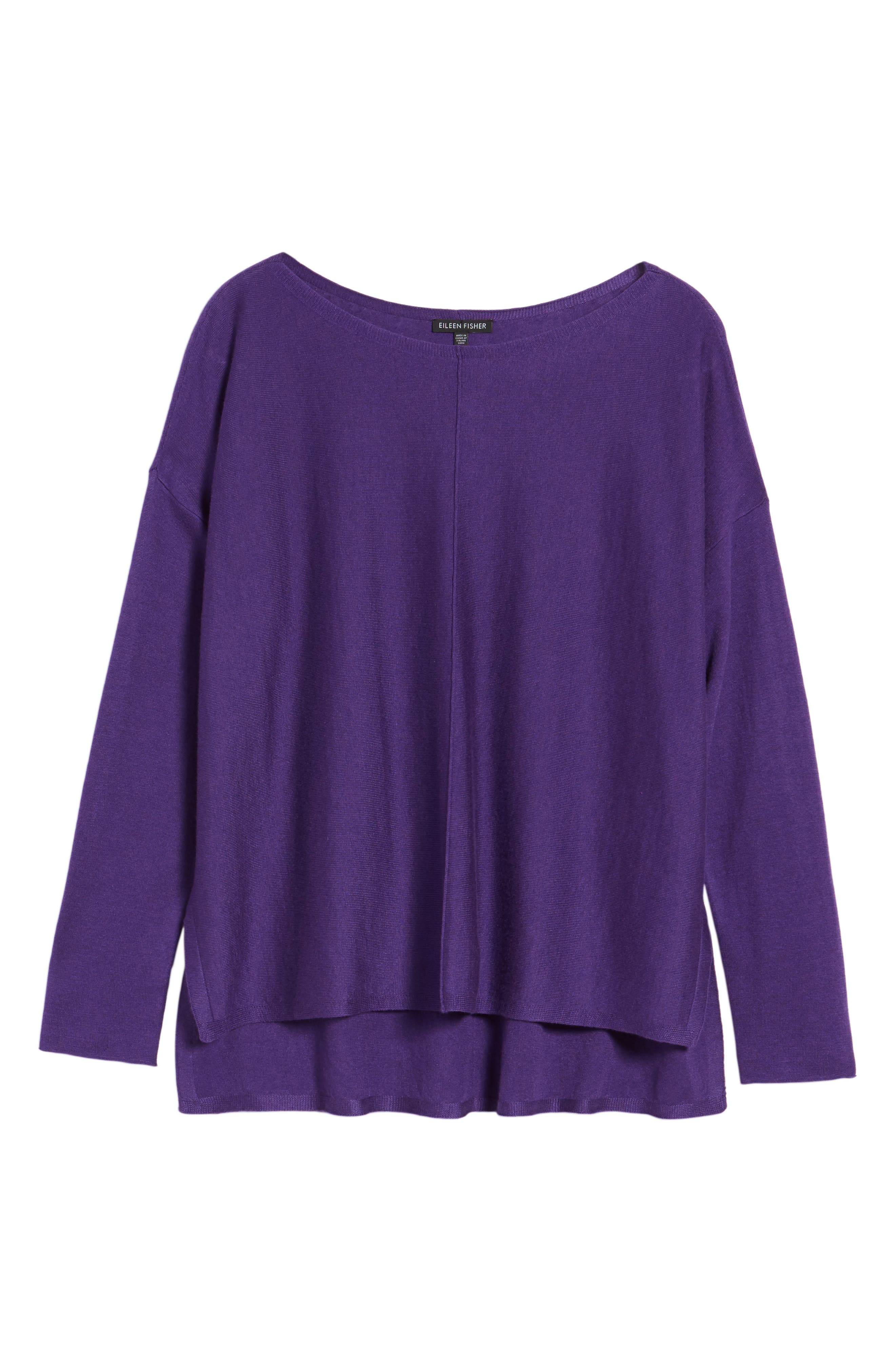 Tencel<sup>®</sup> Lyocell Blend High/Low Sweater,                             Alternate thumbnail 6, color,                             Ultraviolet
