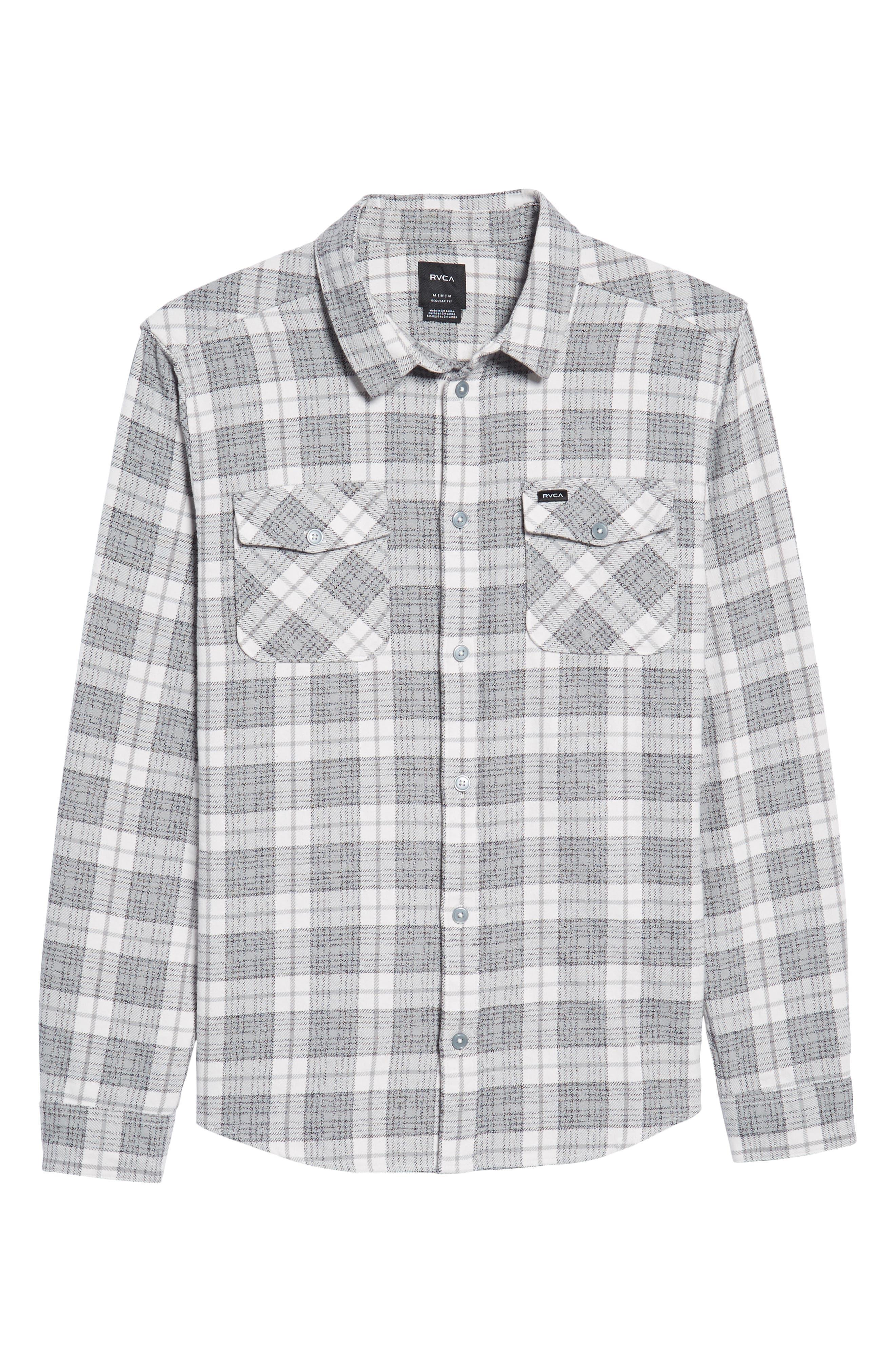 Alternate Image 6  - RVCA 'That'll Work' Trim Fit Plaid Flannel Shirt