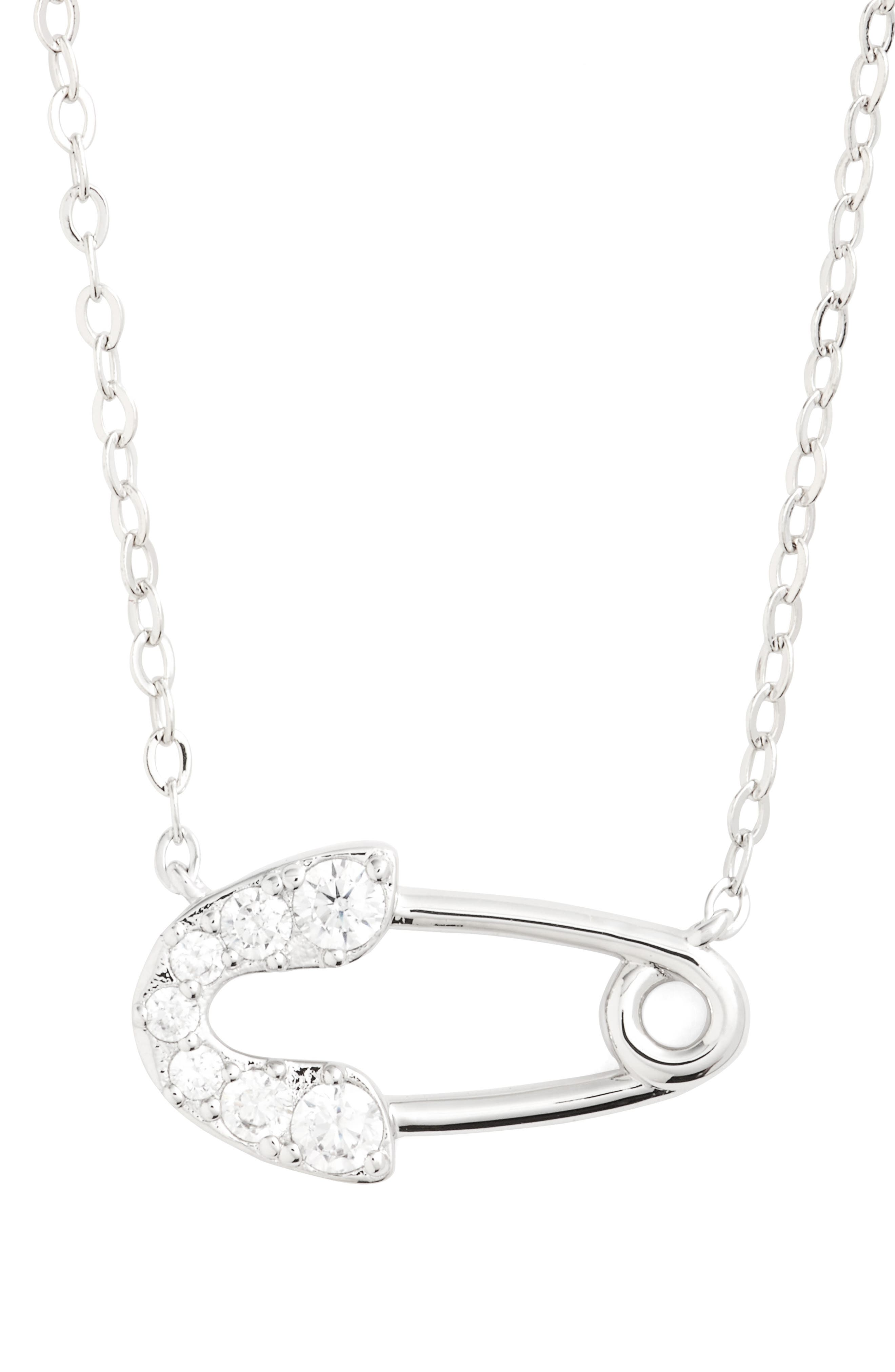 Reminisce Crystal Safety Pin Pendant Necklace,                         Main,                         color, Rhodium