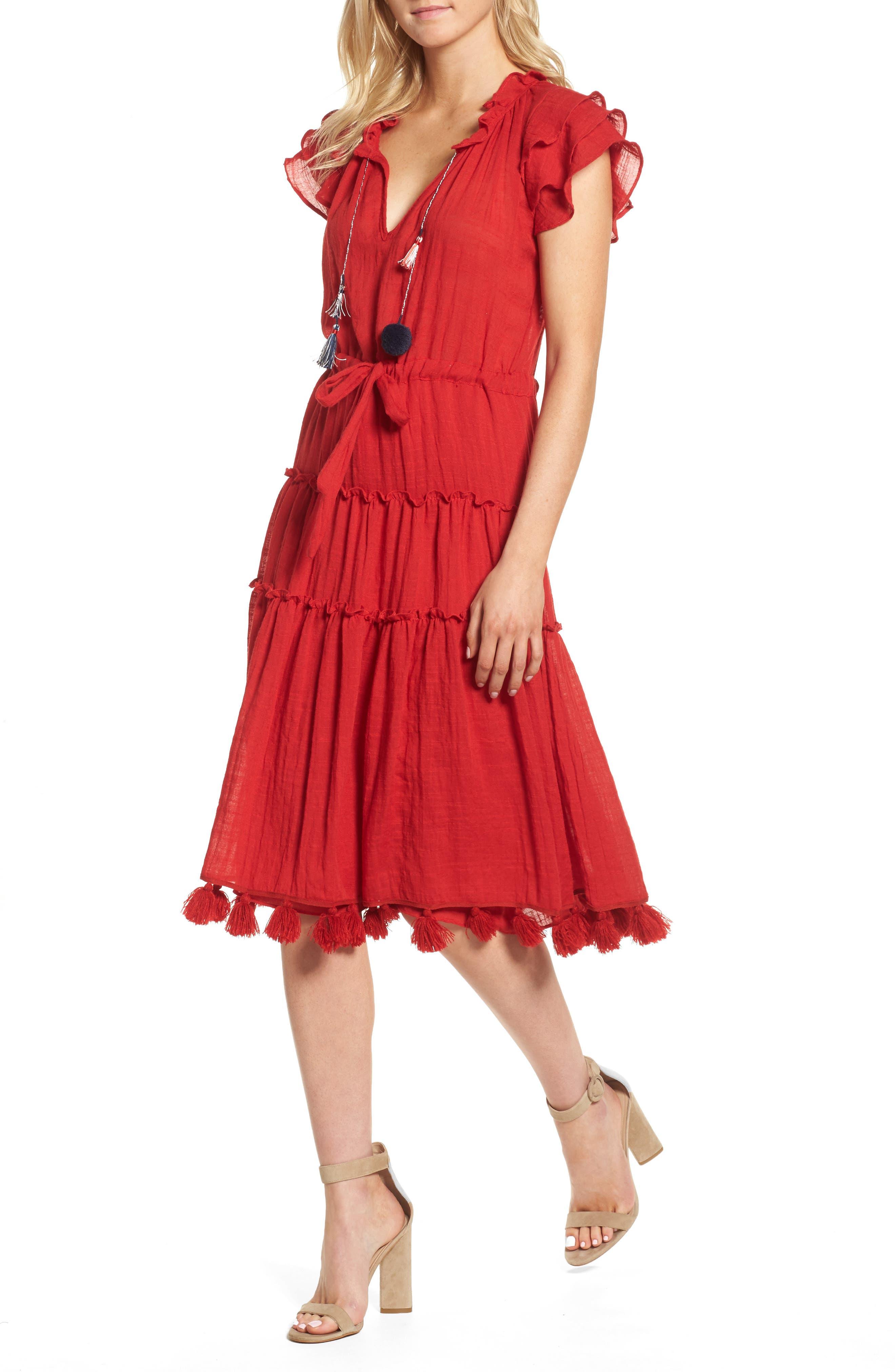 Roza Midi Dress,                         Main,                         color, Scarlet