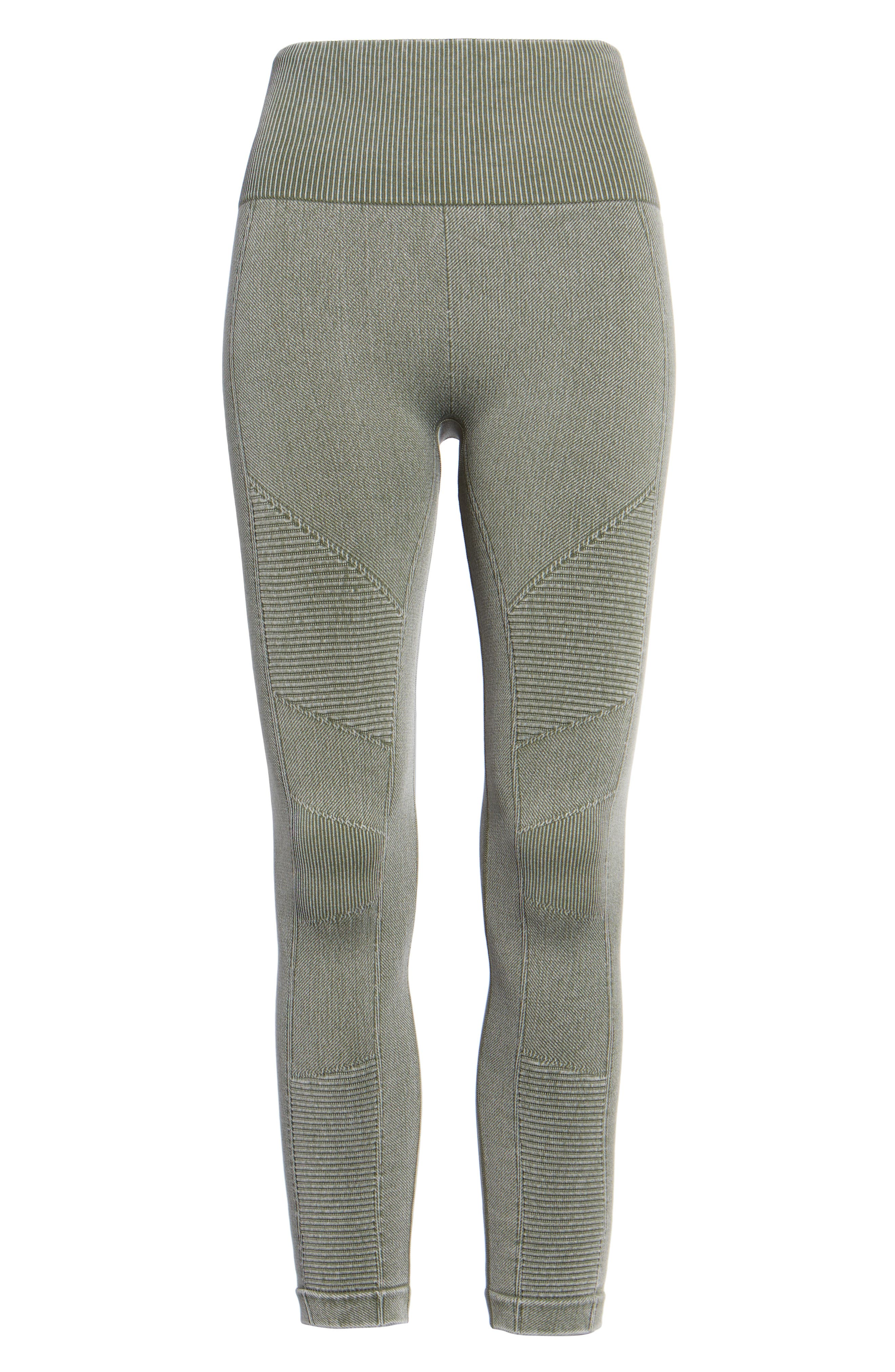 Washed Moto Seamless Skimmer Leggings,                             Alternate thumbnail 6, color,                             Fatigue Green
