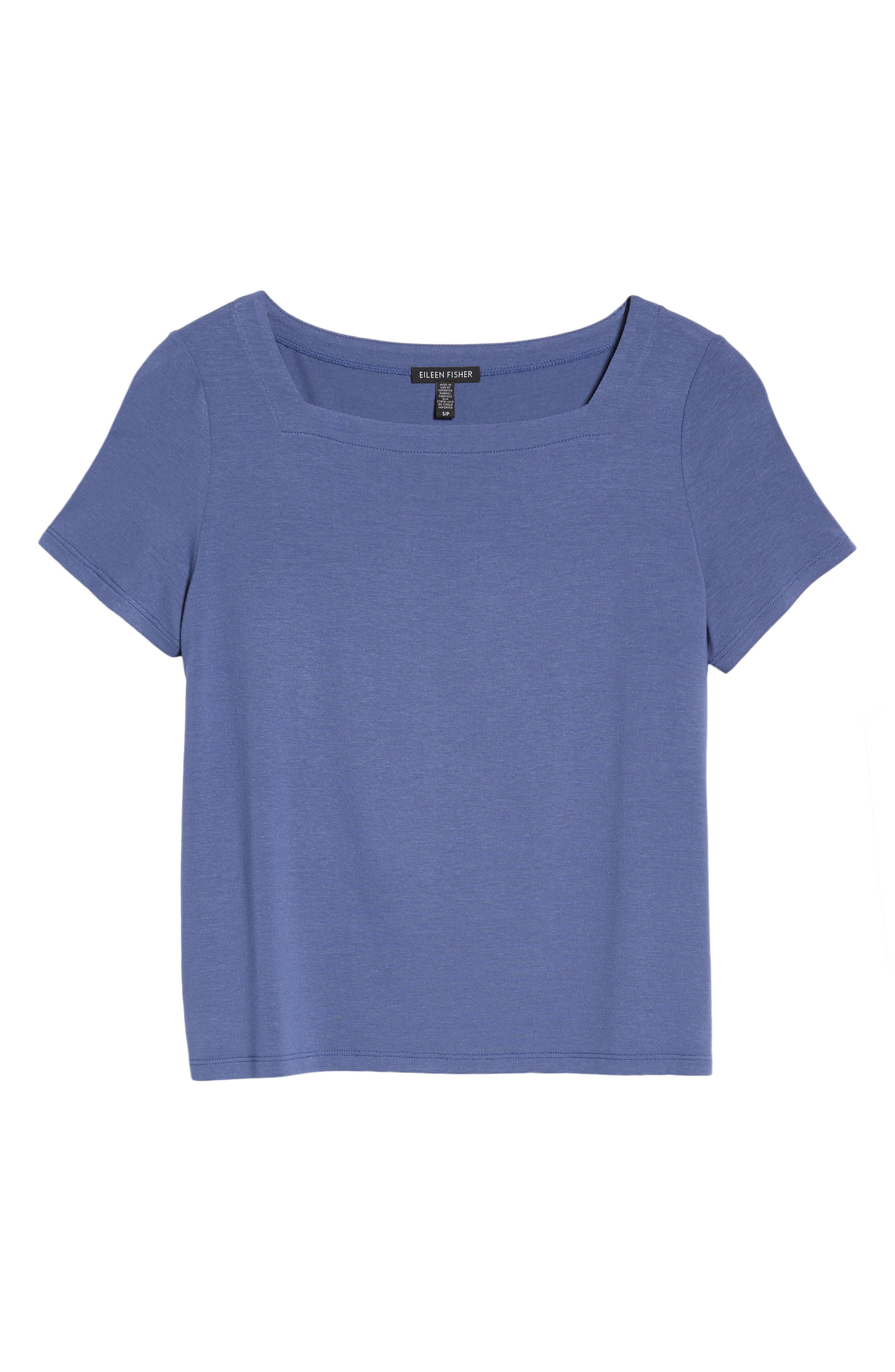Square Neck Jersey Top,                             Alternate thumbnail 6, color,                             Blue Angel