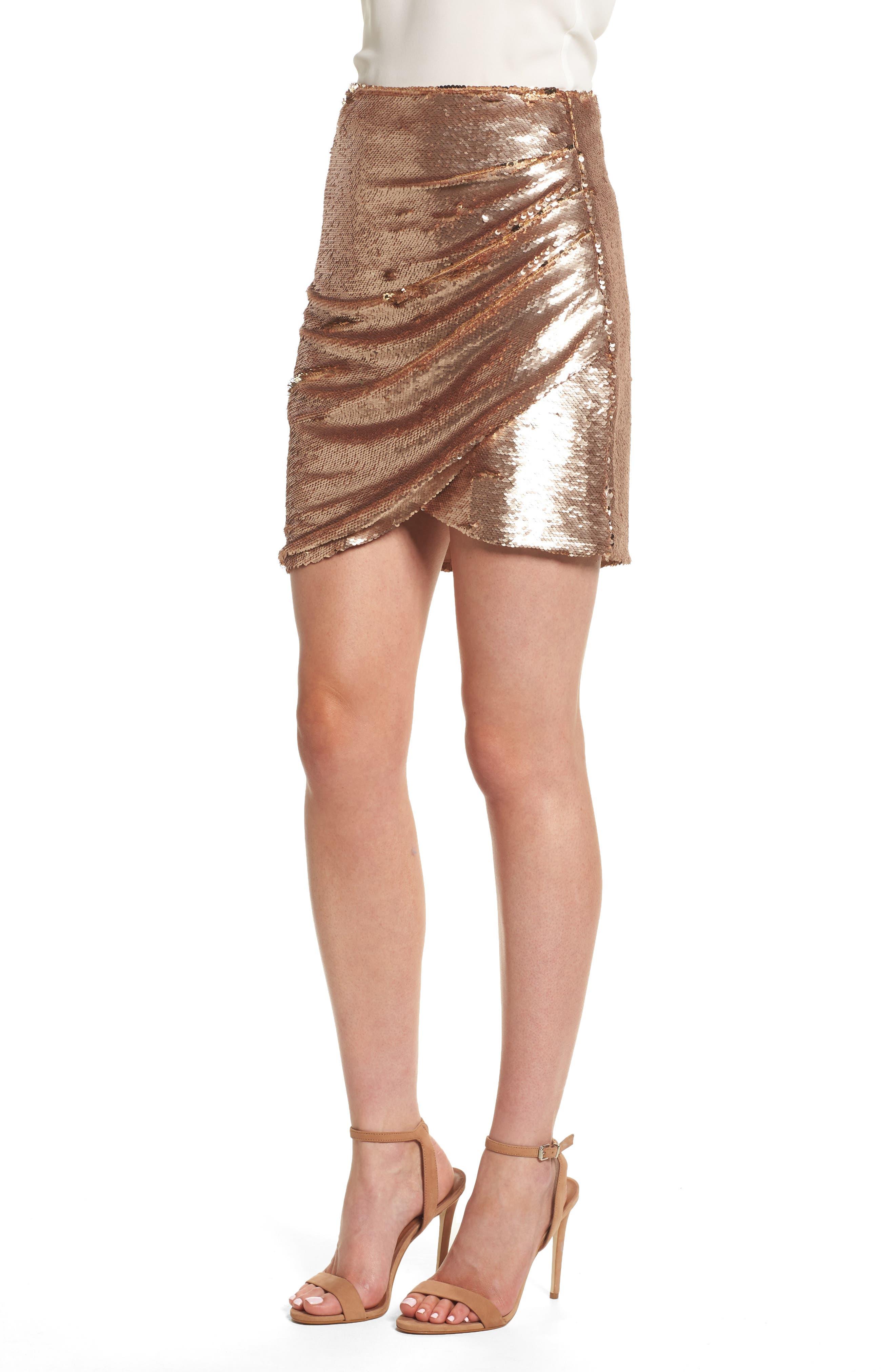 Tresor Sequin Miniskirt,                             Alternate thumbnail 3, color,                             Champagne Blush