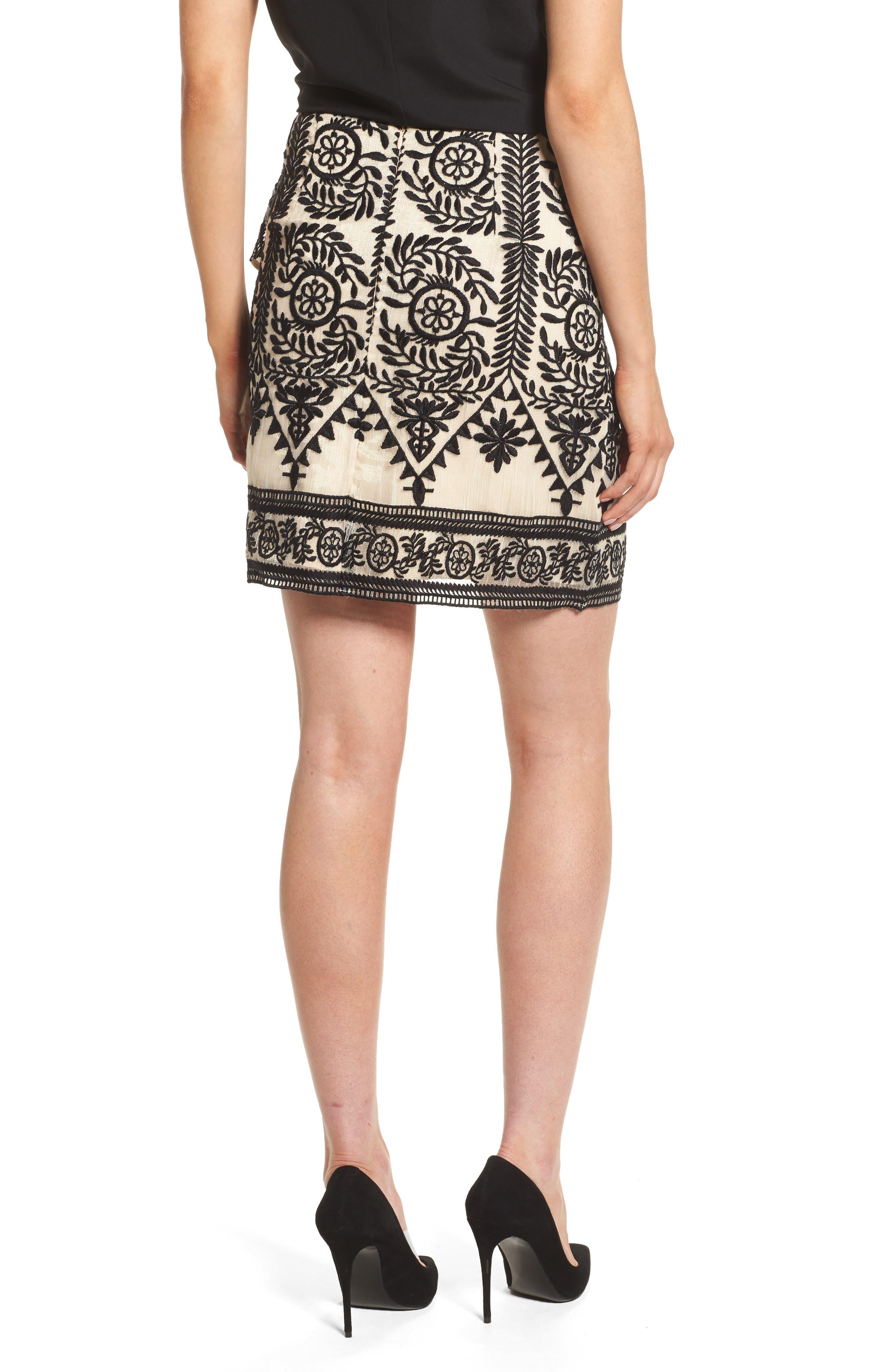 Soiree Ruffle Miniskirt,                             Alternate thumbnail 3, color,                             Black