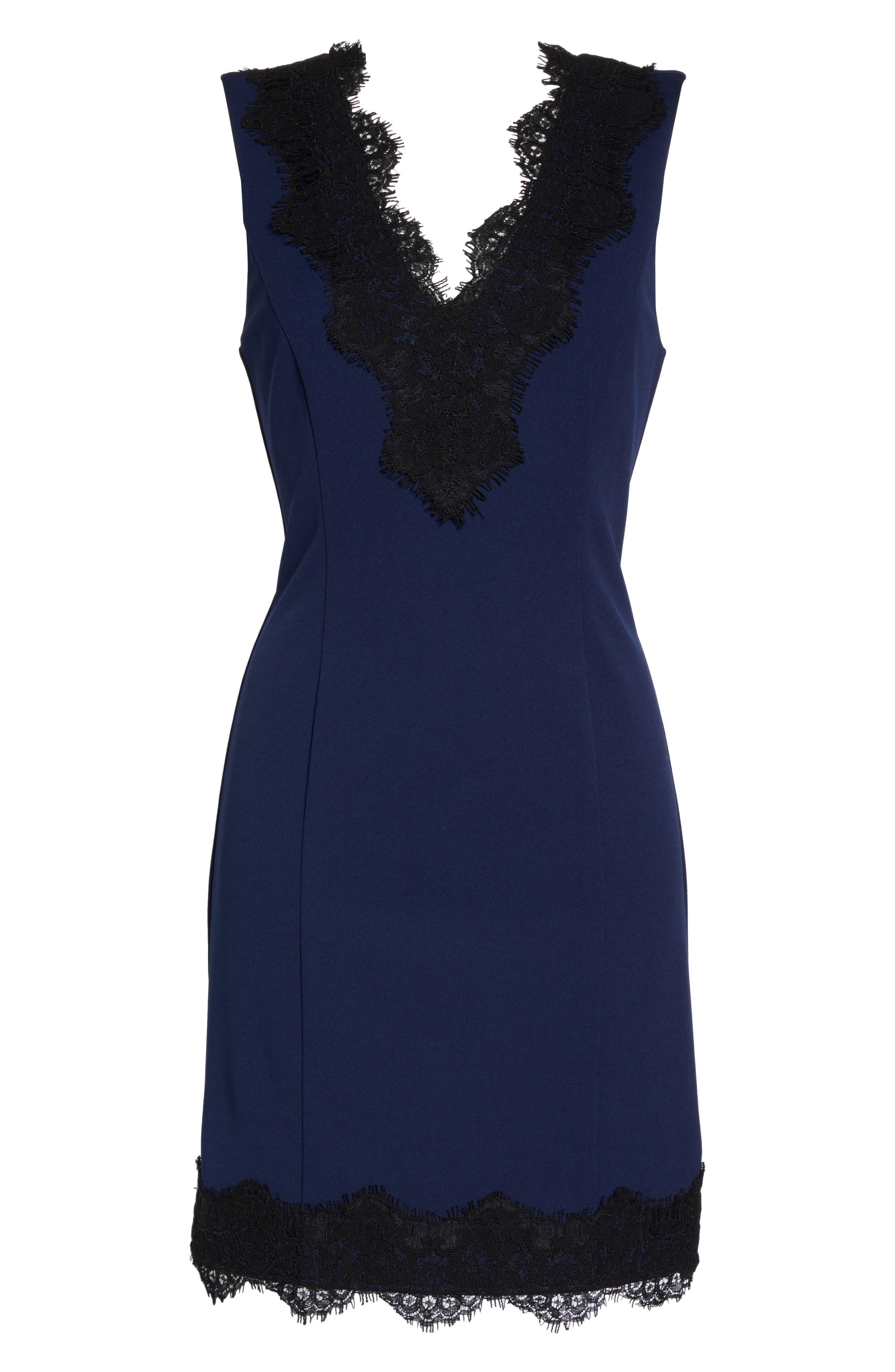 Alternate Image 4  - Charles Henry Lace Trim Sheath Dress