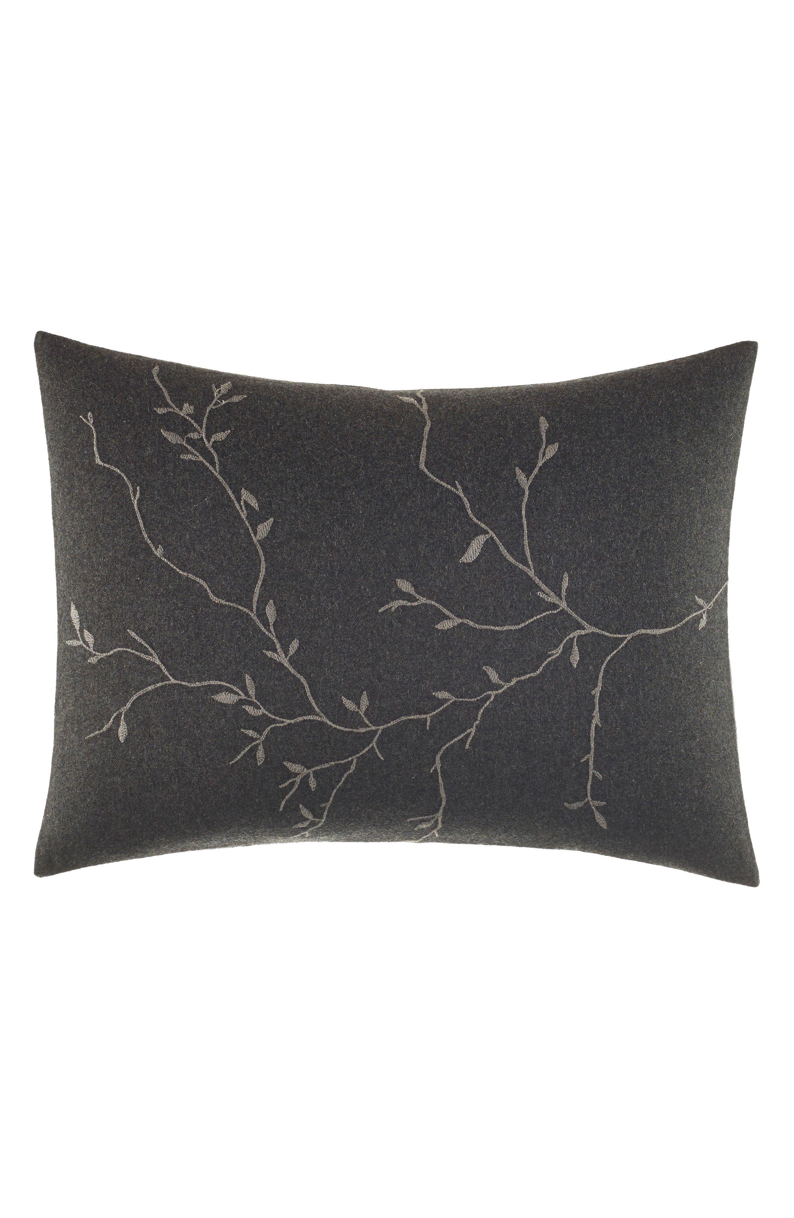 Charcoal Floral Vine Accent Pillow,                         Main,                         color, Dark Gray