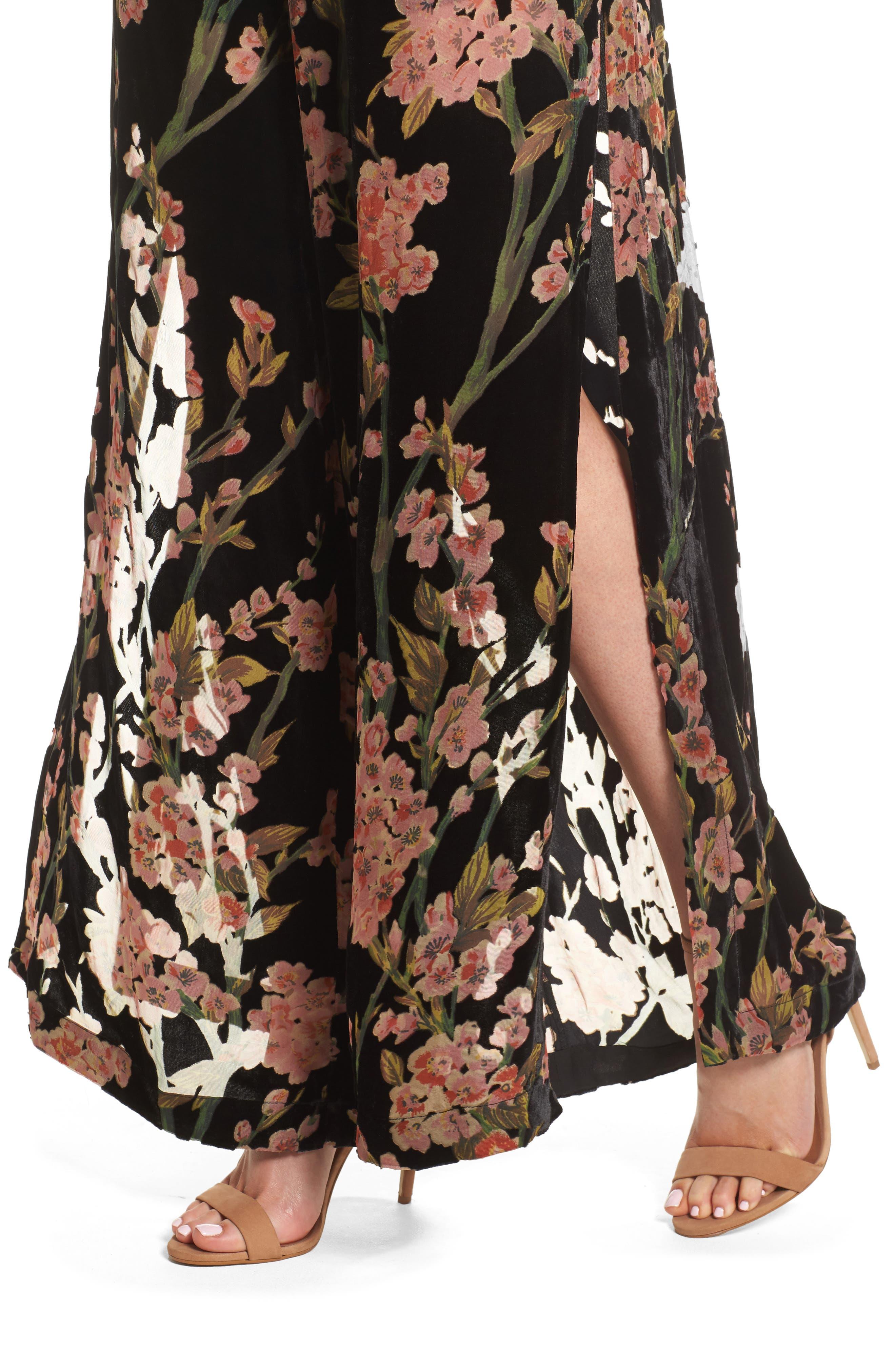 Salon Velvet Jumpsuit,                             Alternate thumbnail 4, color,                             Multi Print