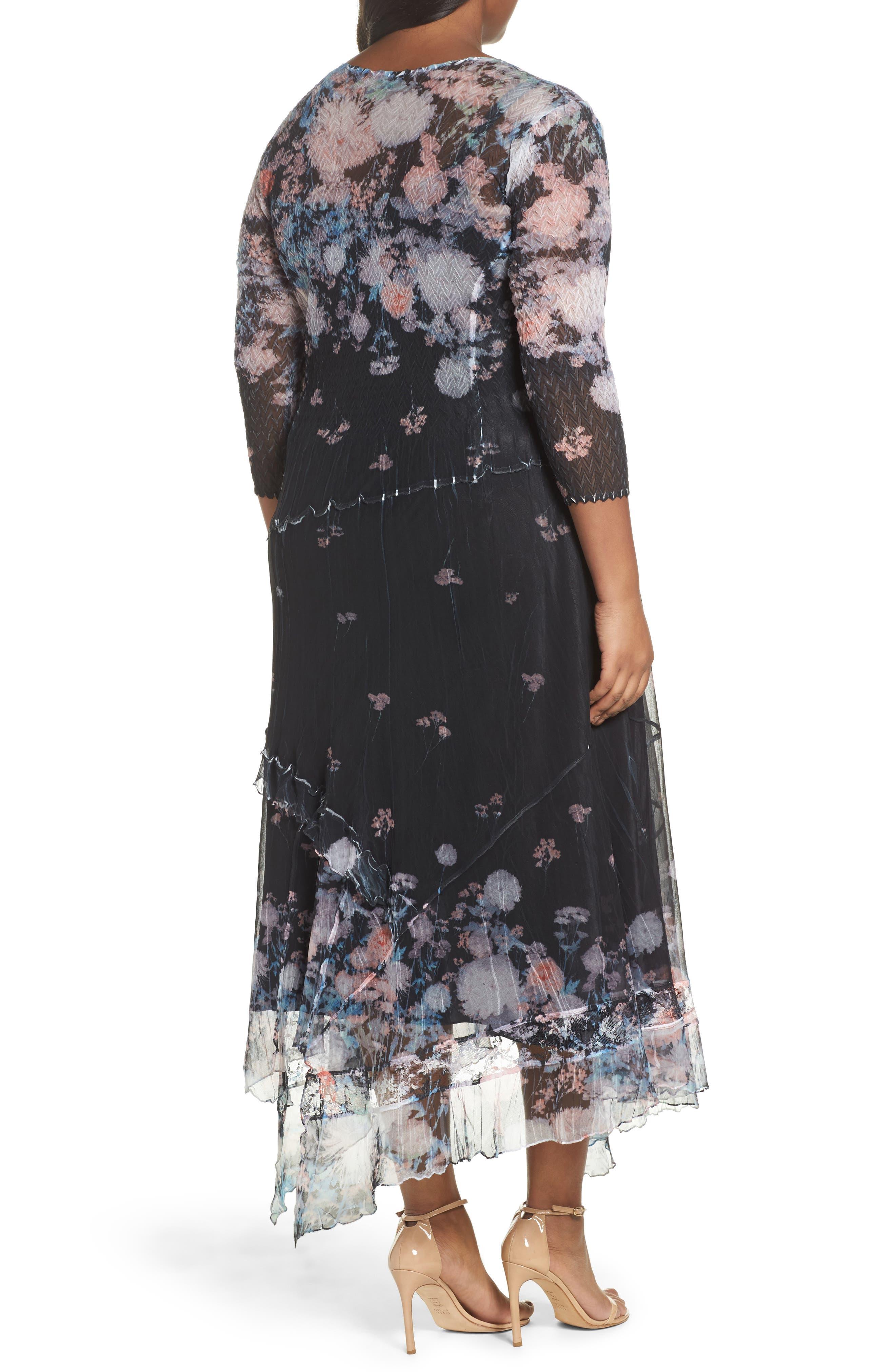 Alternate Image 2  - Komarov Floral Print Handkerchief Hem Maxi Dress (Plus Size)