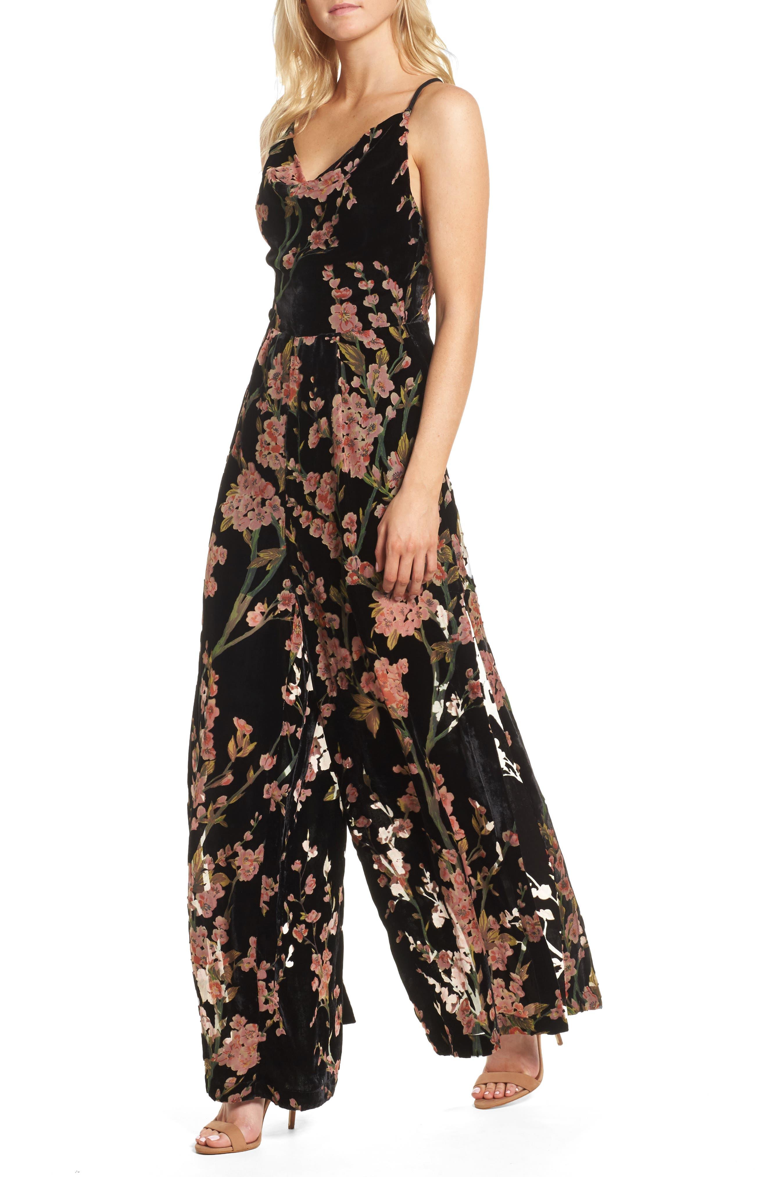 Salon Velvet Jumpsuit,                         Main,                         color, Multi Print
