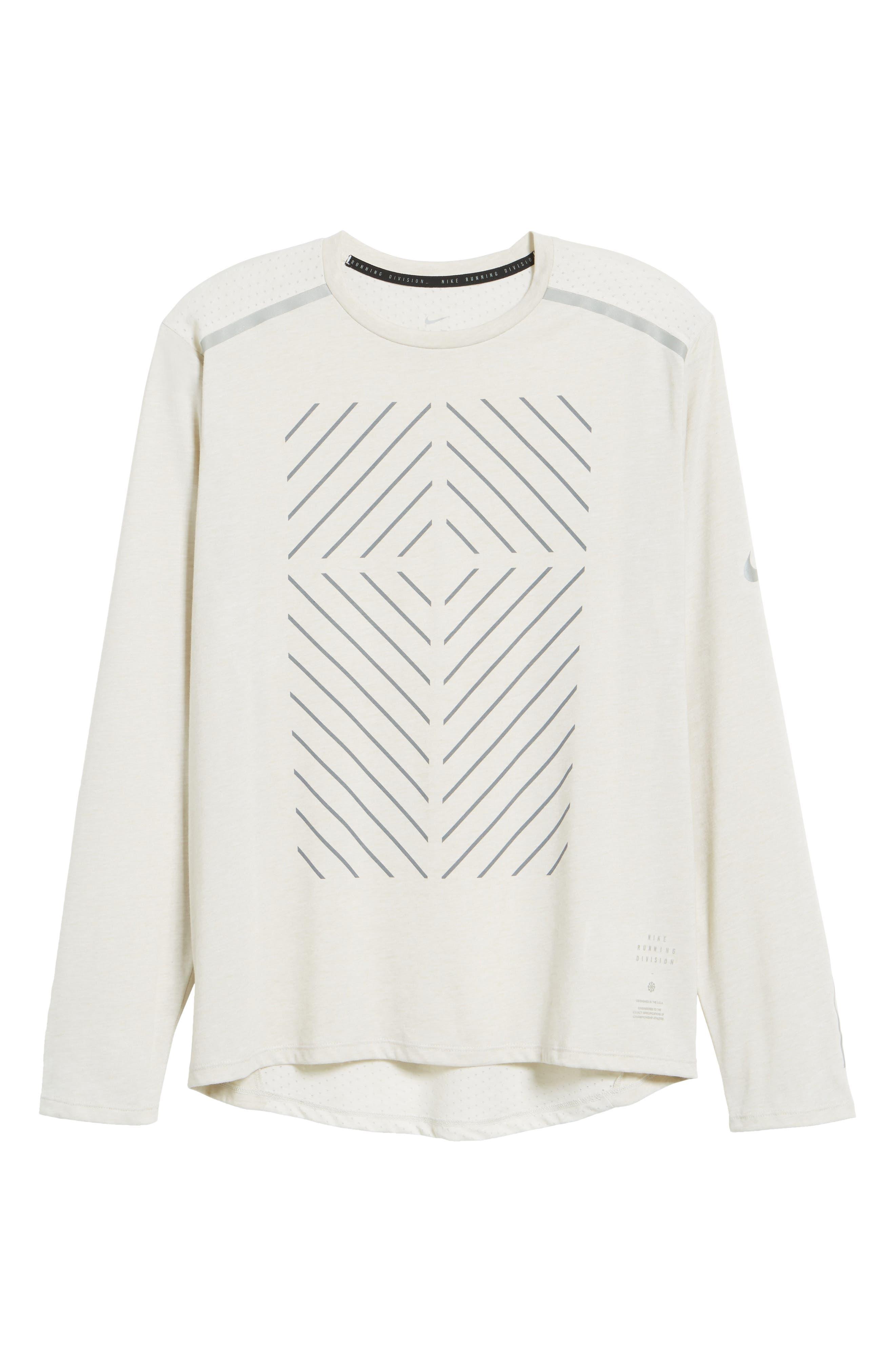 Tailwind Long Sleeve Running T-Shirt,                             Alternate thumbnail 6, color,                             Light Bone/ Heather