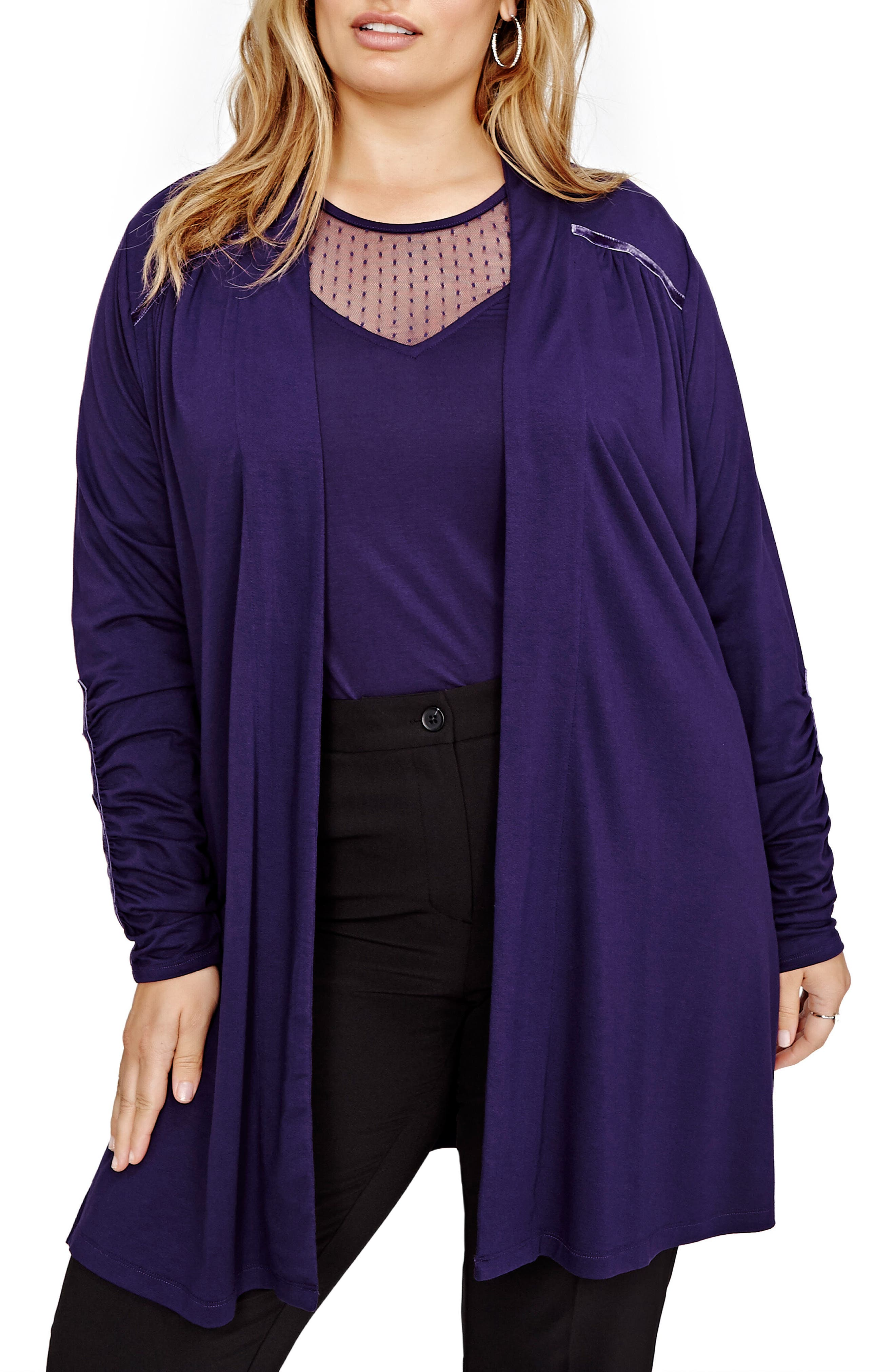Alternate Image 1 Selected - MICHEL STUDIO Ruched Sleeve Cardigan (Plus Size)
