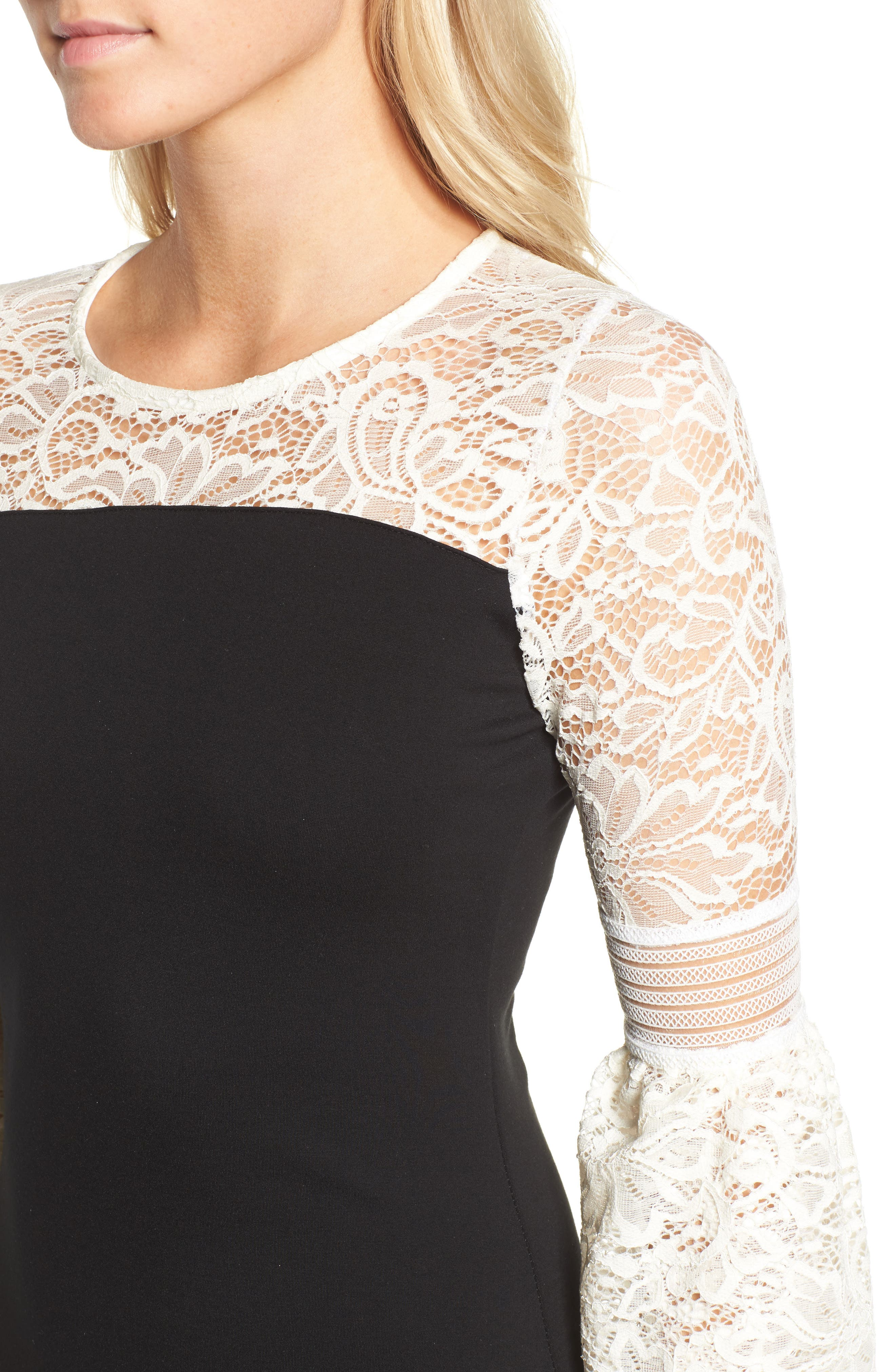 Floetry Bell Sleeve Sheath Dress,                             Alternate thumbnail 4, color,                             Cream Lace/ Black