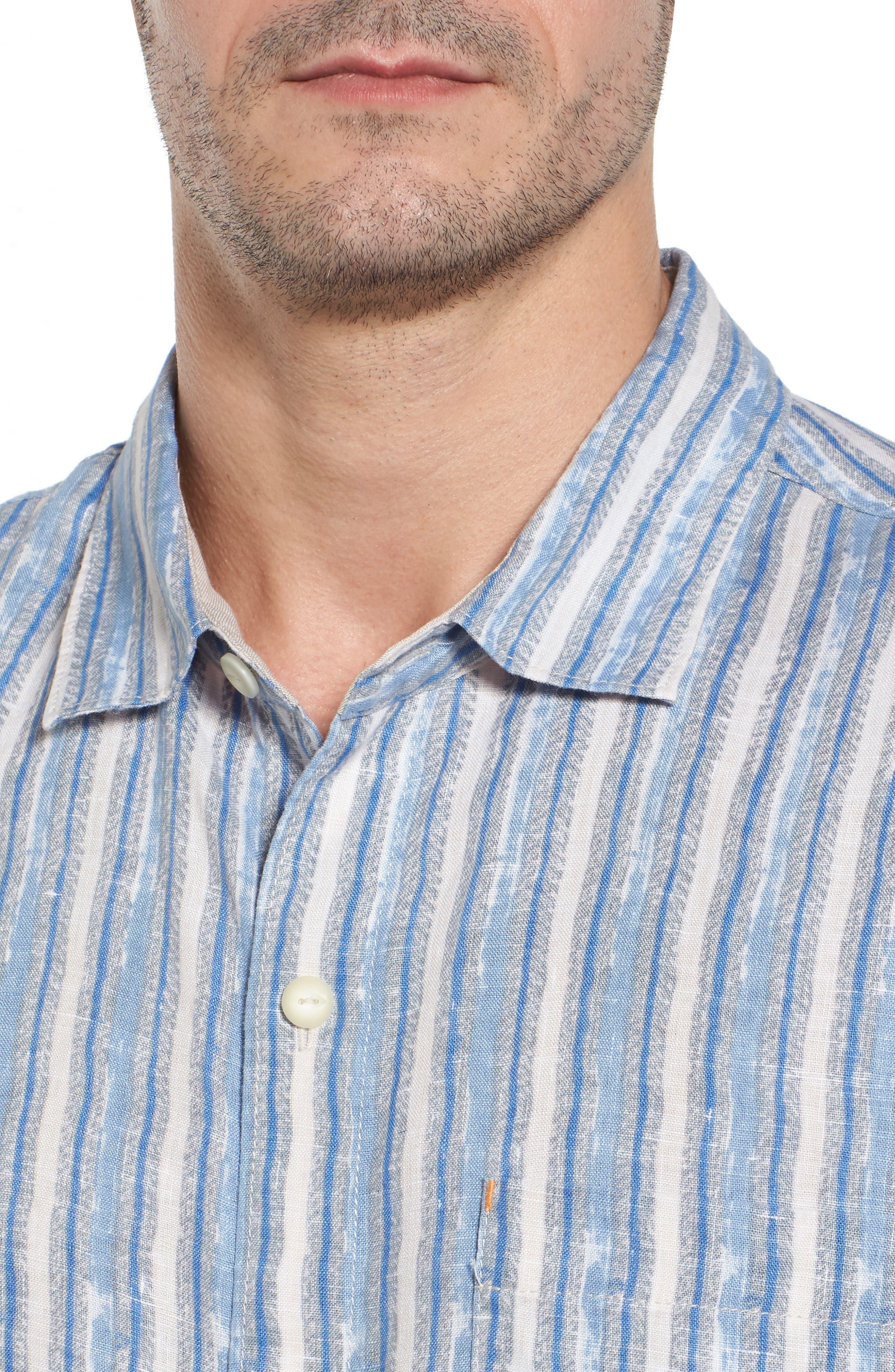 Along Shore Stripe Linen Sport Shirt,                             Alternate thumbnail 4, color,                             Fjord