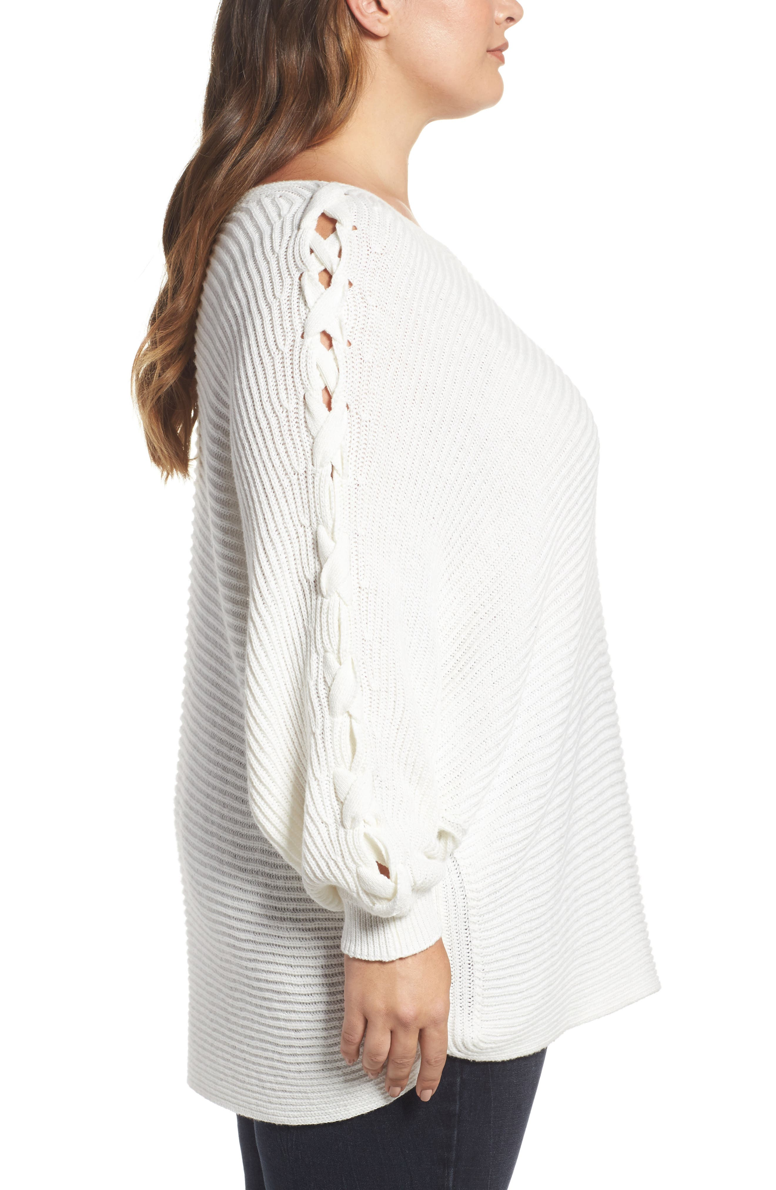 Lace-Up Sleeve Sweater,                             Alternate thumbnail 3, color,                             Ivory Cloud