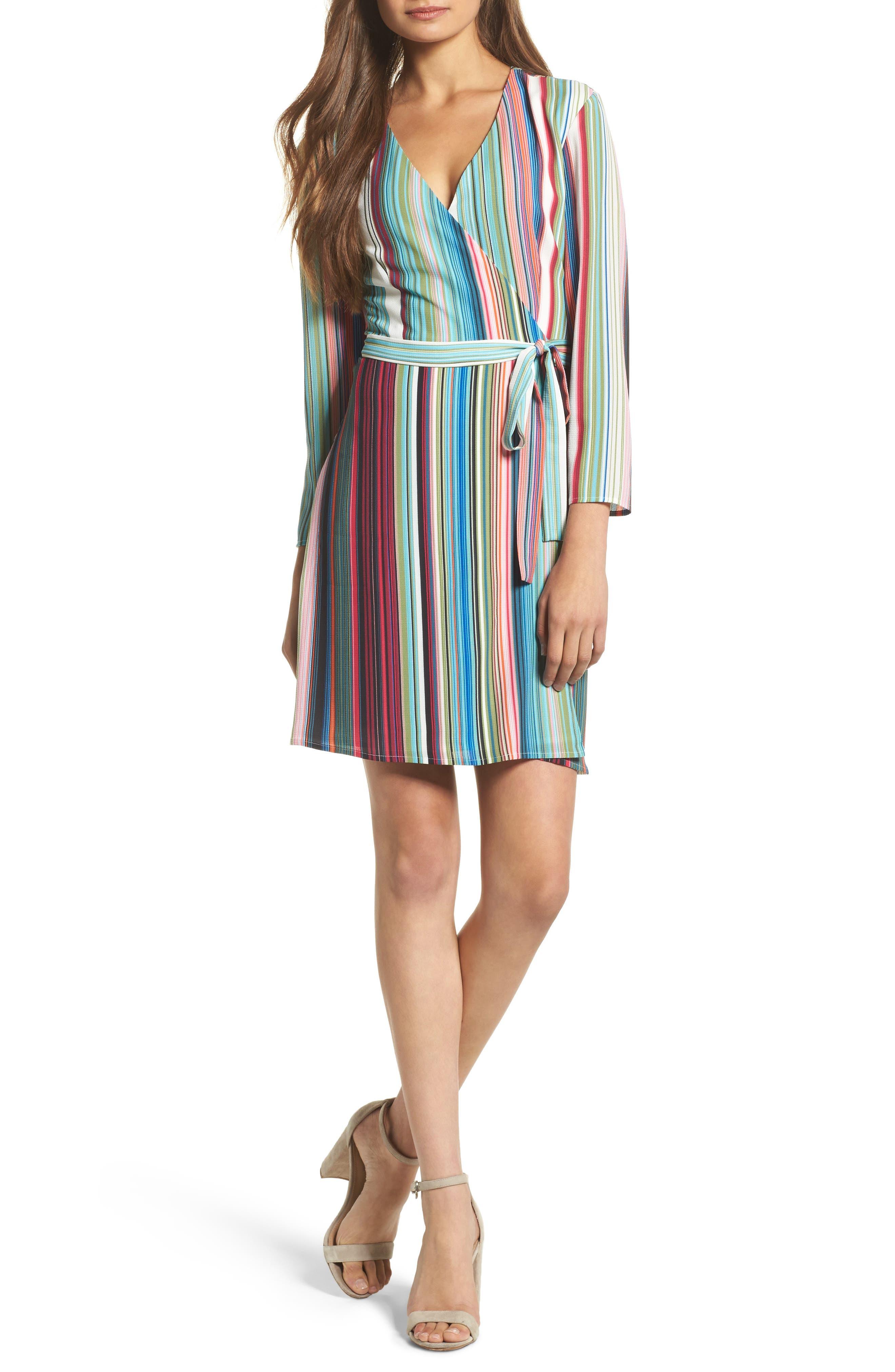 Alternate Image 1 Selected - Charles Henry Wrap Minidress (Regular & Petite)