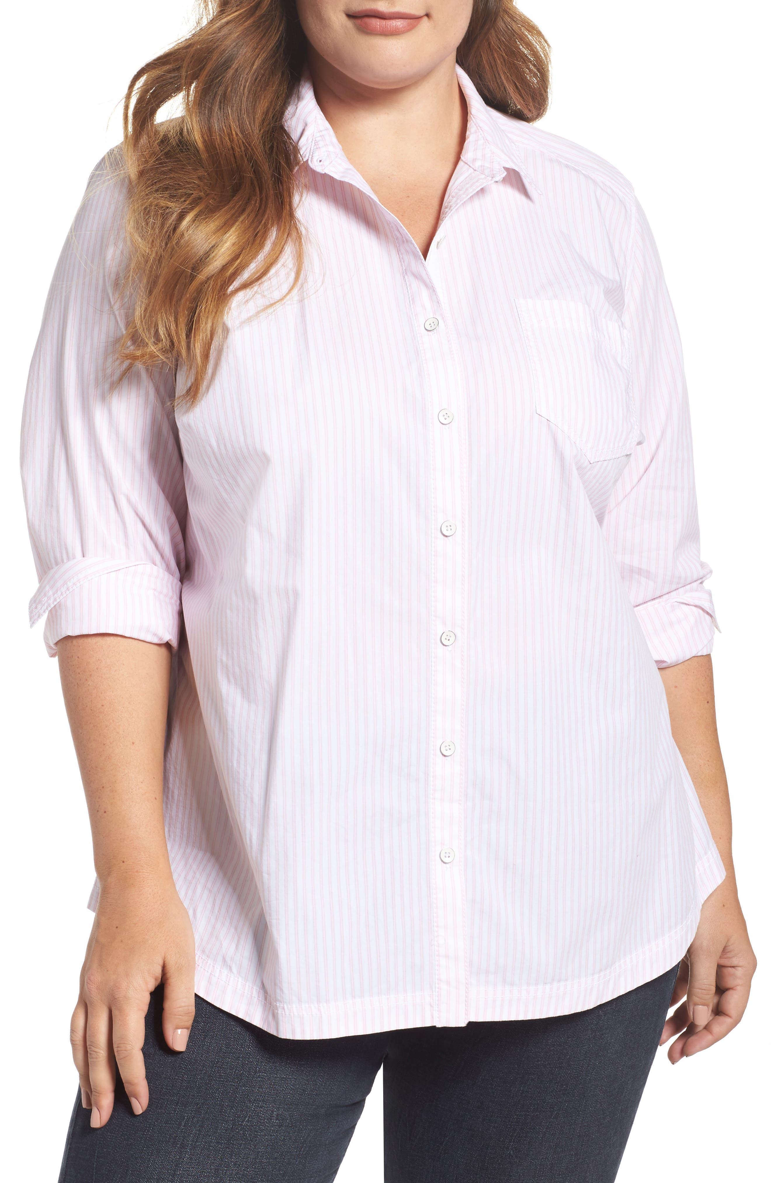 Alternate Image 1 Selected - Caslon® Stripe Button Front Shirt (Plus Size)