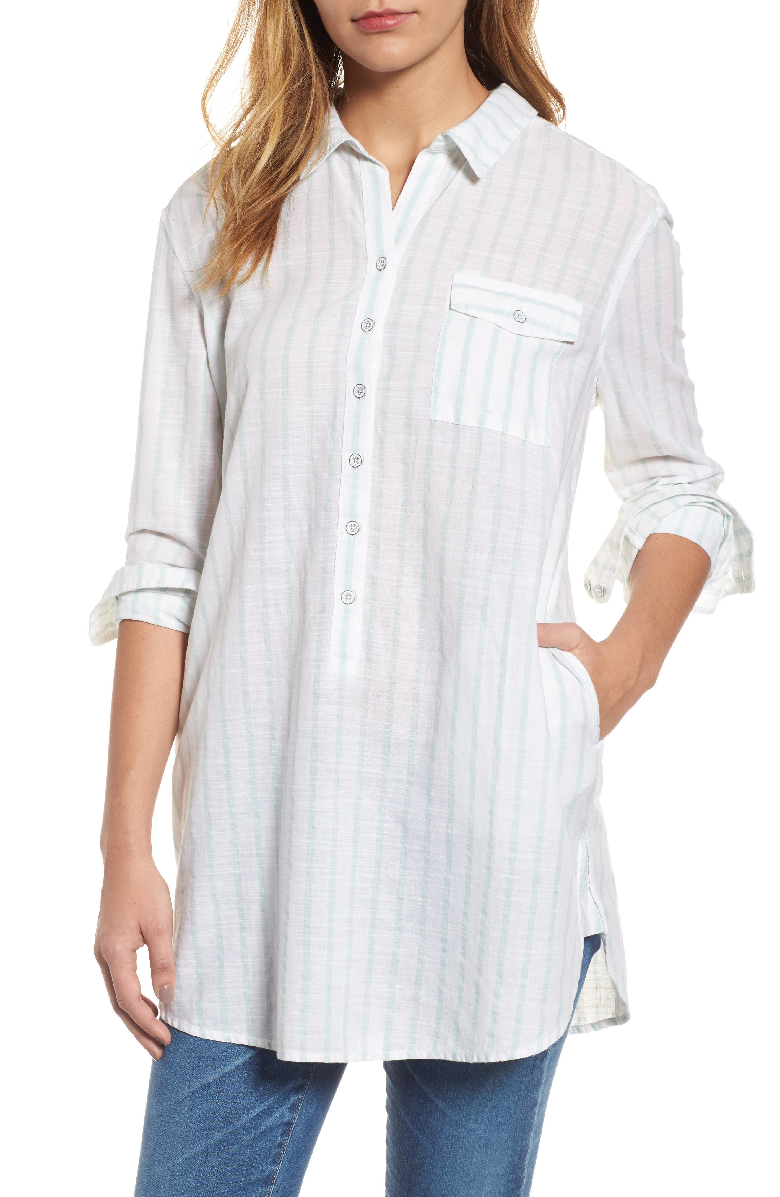 Caslon® Tie-Back Woven Tunic (Regular & Petite)