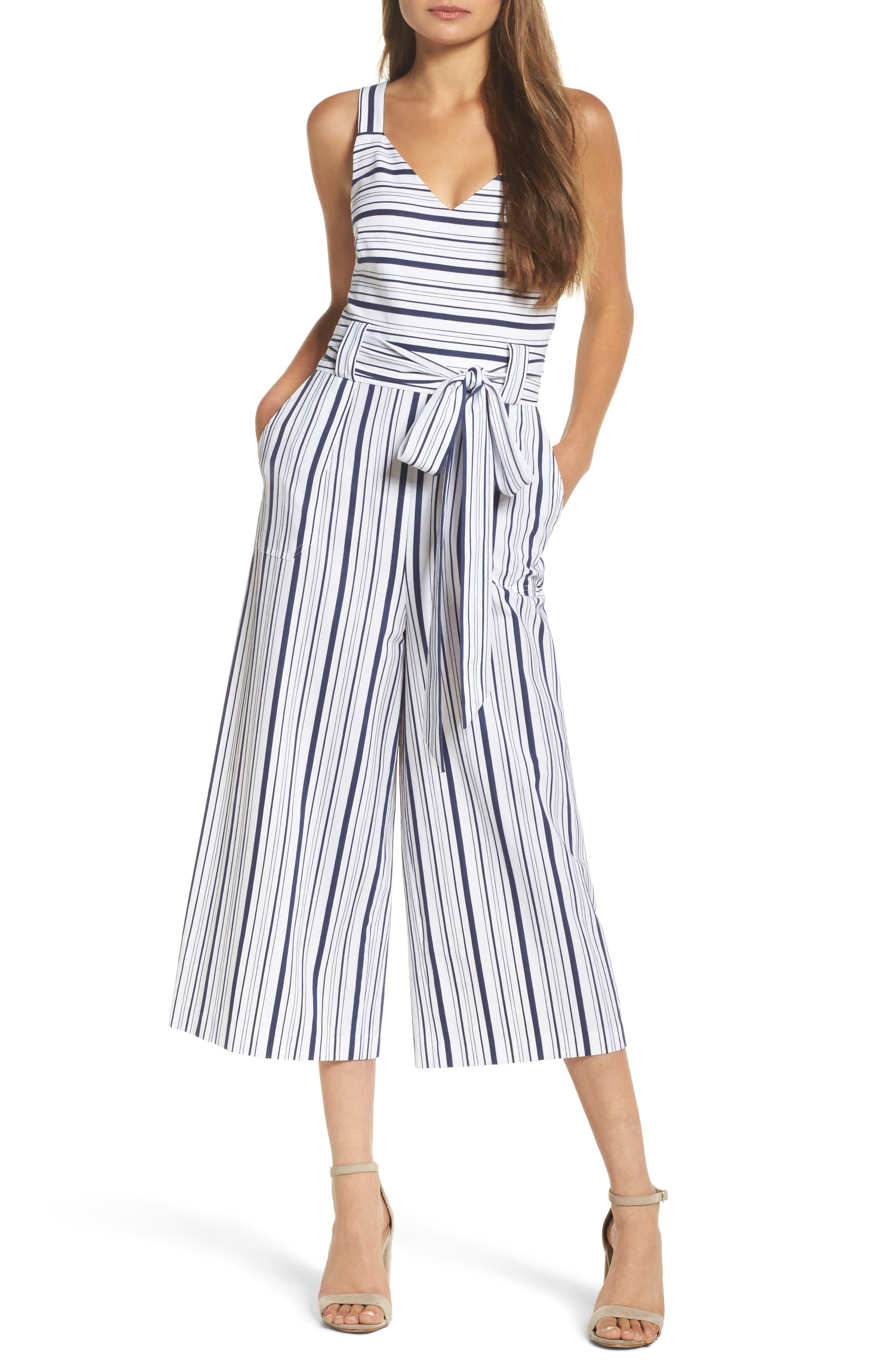 Stripe Culotte Jumpsuit,                             Main thumbnail 1, color,                             Blue/ White Ella Stripe