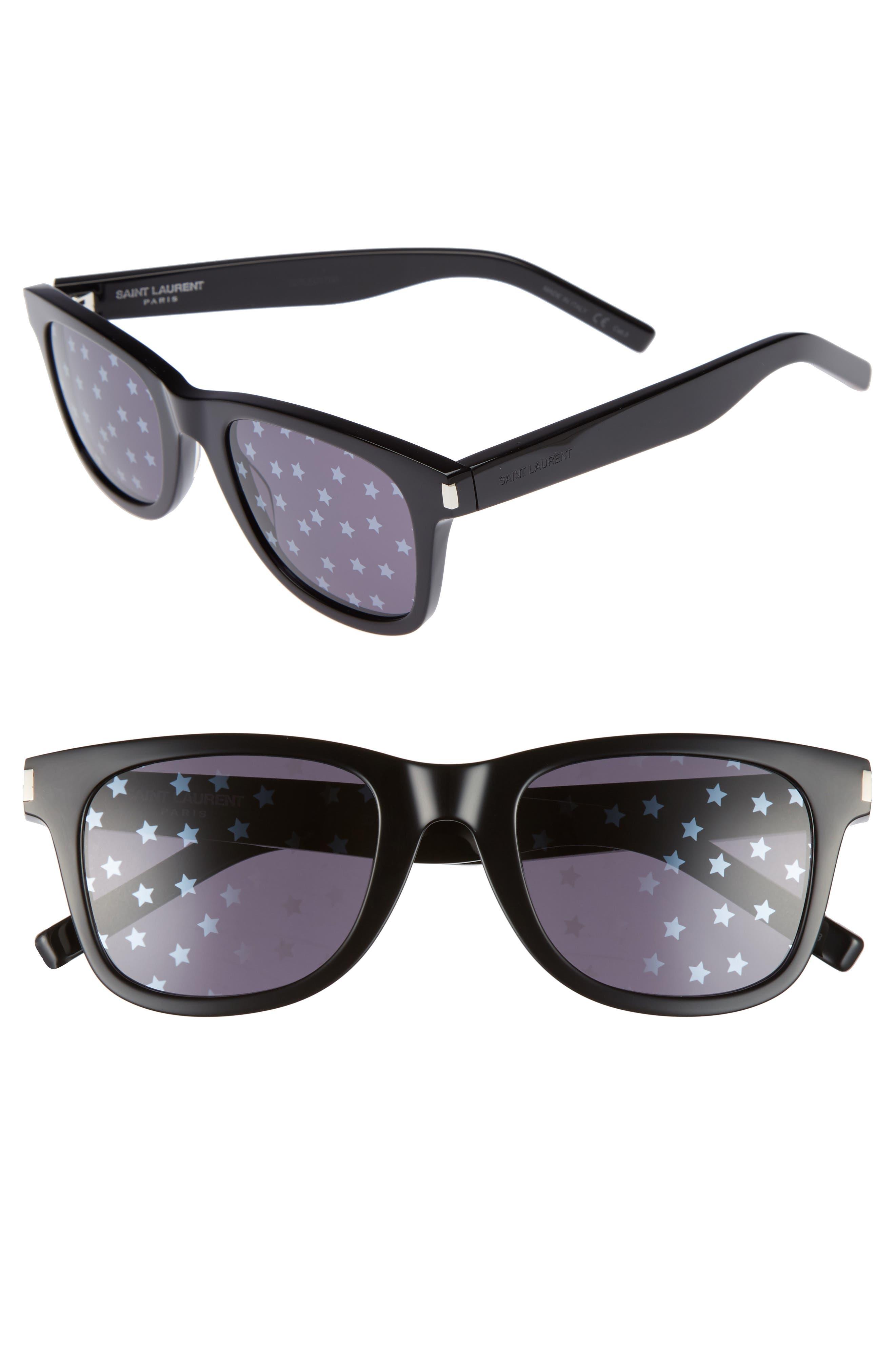 SL51 50mm Sunglasses,                             Main thumbnail 1, color,                             Black/ Black