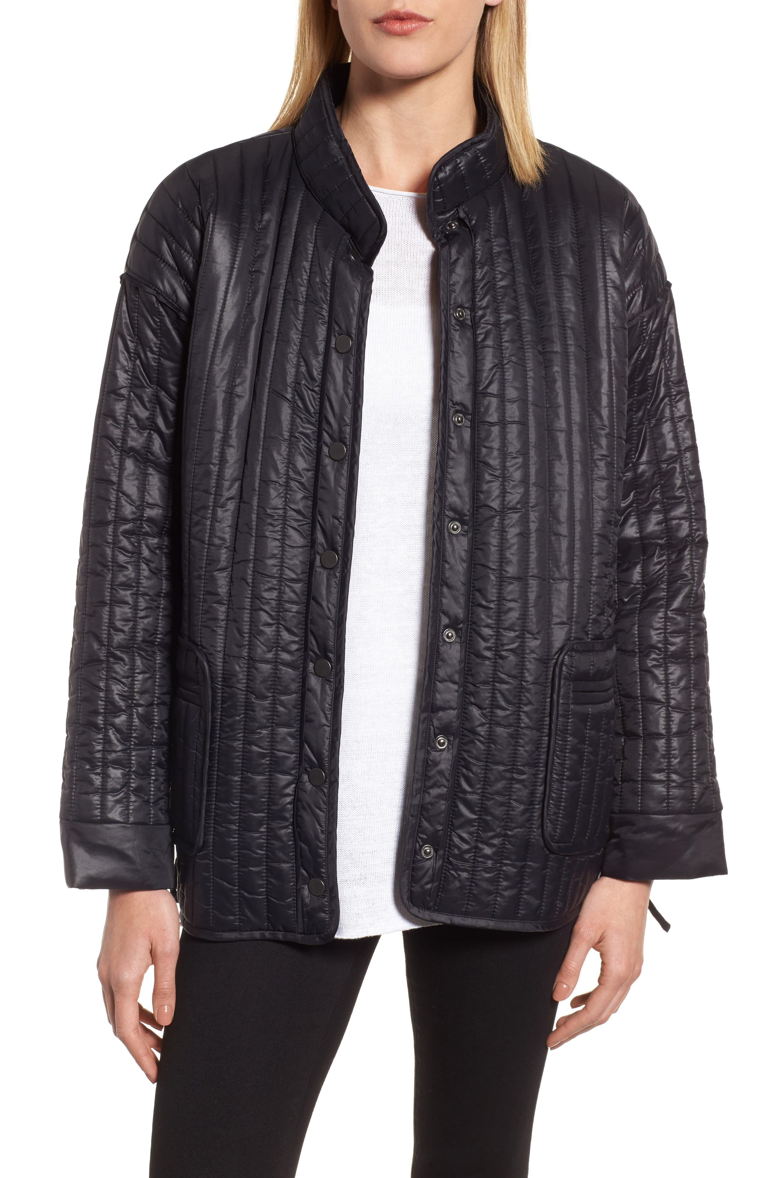 Side Tie Quilted Jacket,                             Main thumbnail 1, color,                             Black