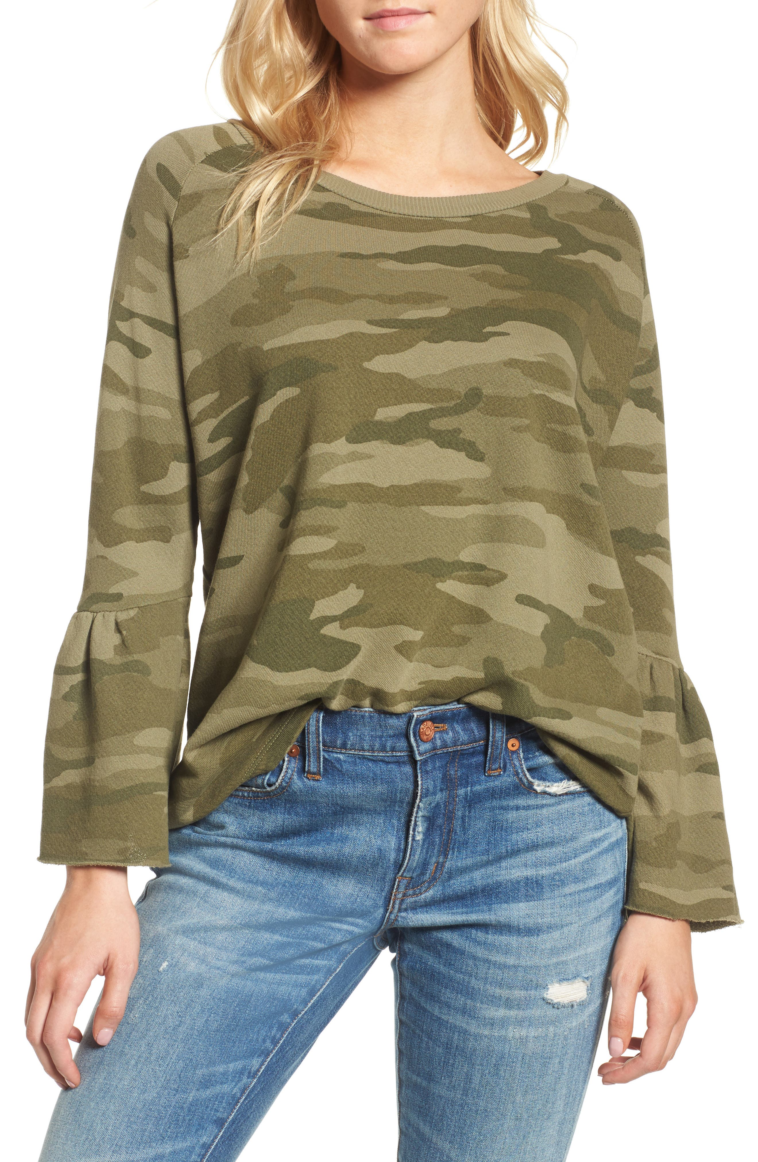 The Ruffle Sleeve Sweatshirt,                         Main,                         color, Essentials Camo