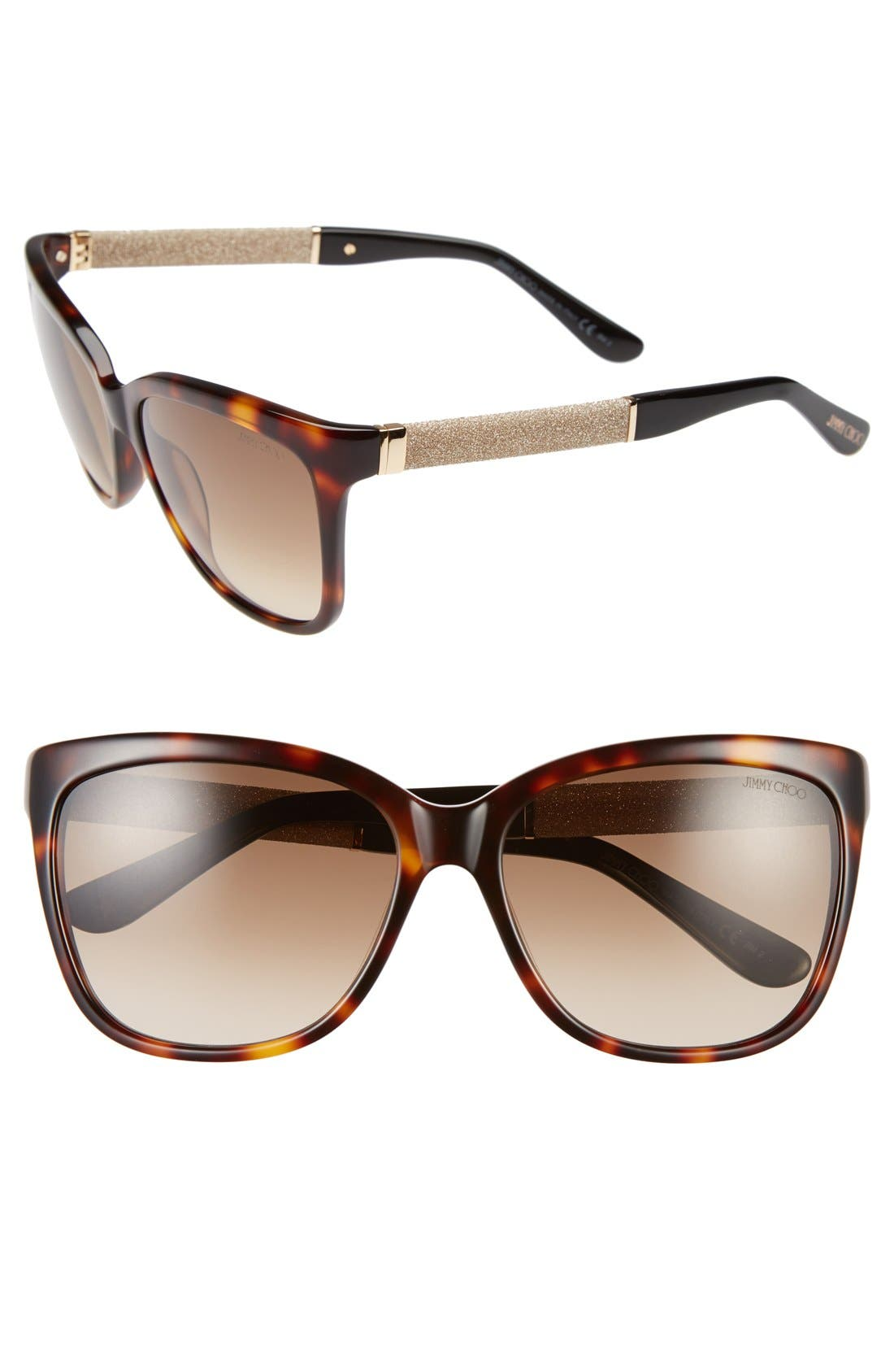 'Coras' 56mm Retro Sunglasses,                         Main,                         color, Dark Havana