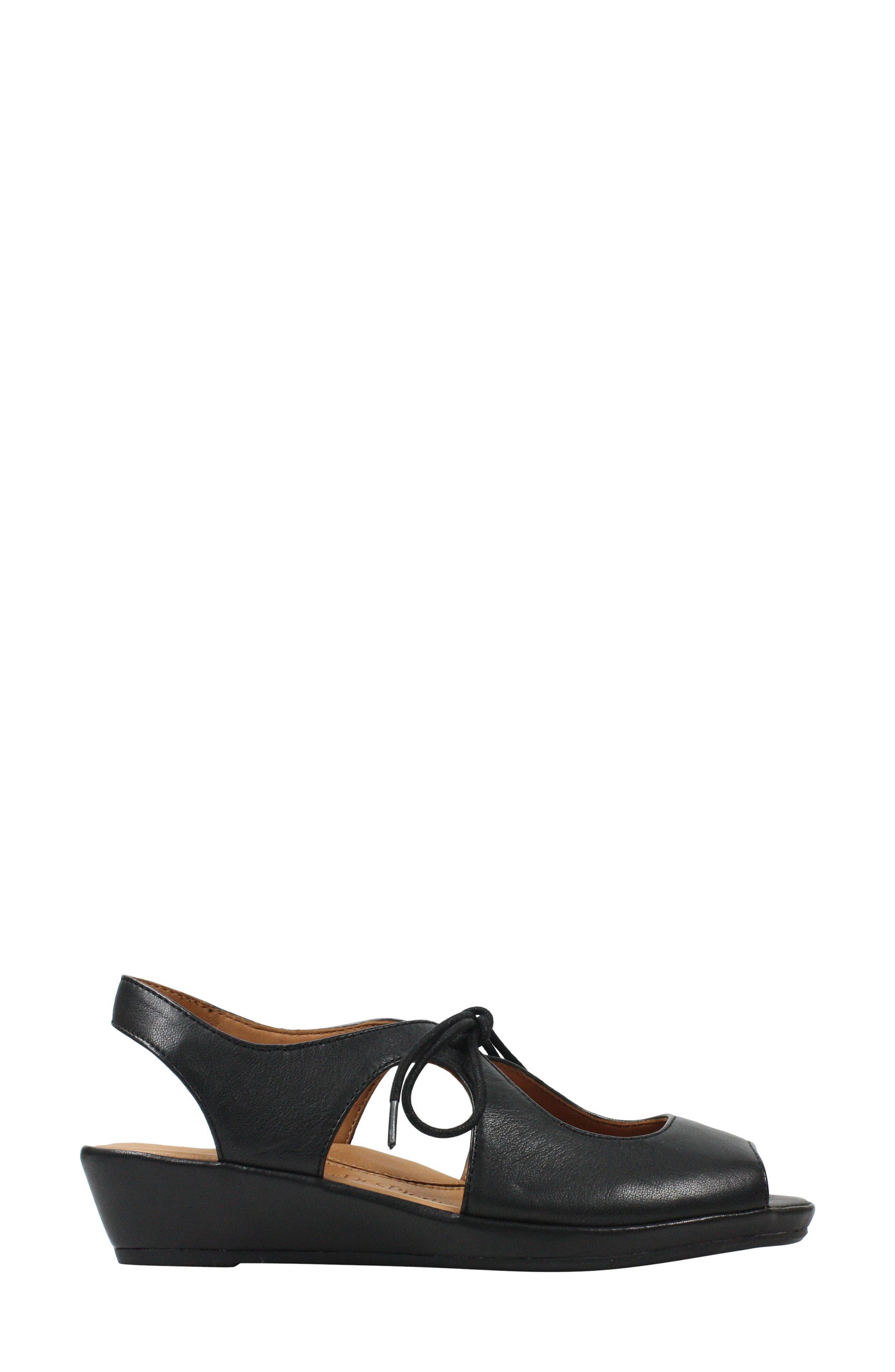 Brettany Sandal,                             Alternate thumbnail 4, color,                             Black Leather