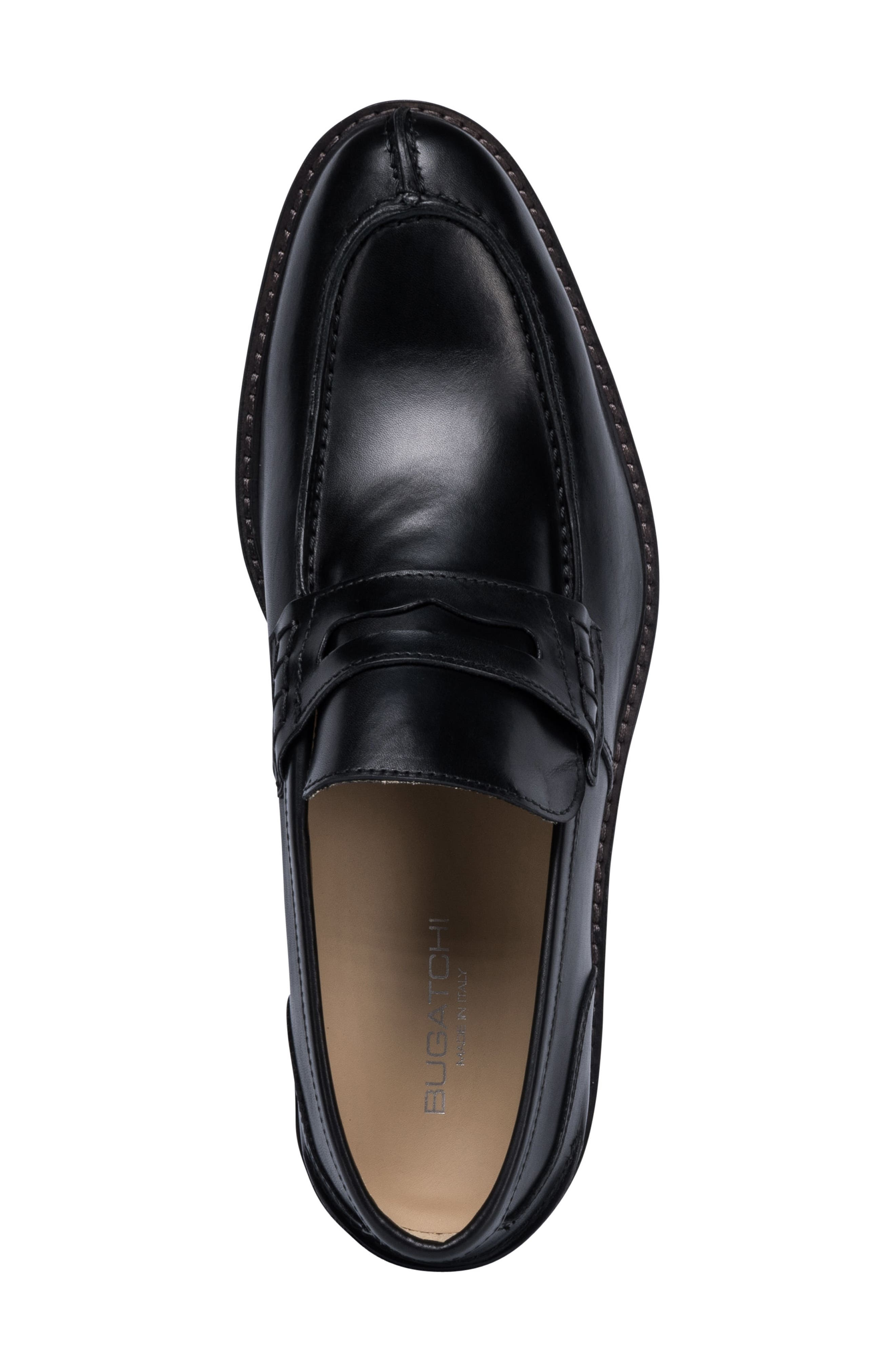 Apron Toe Penny Loafer,                             Alternate thumbnail 5, color,                             Nero Leather