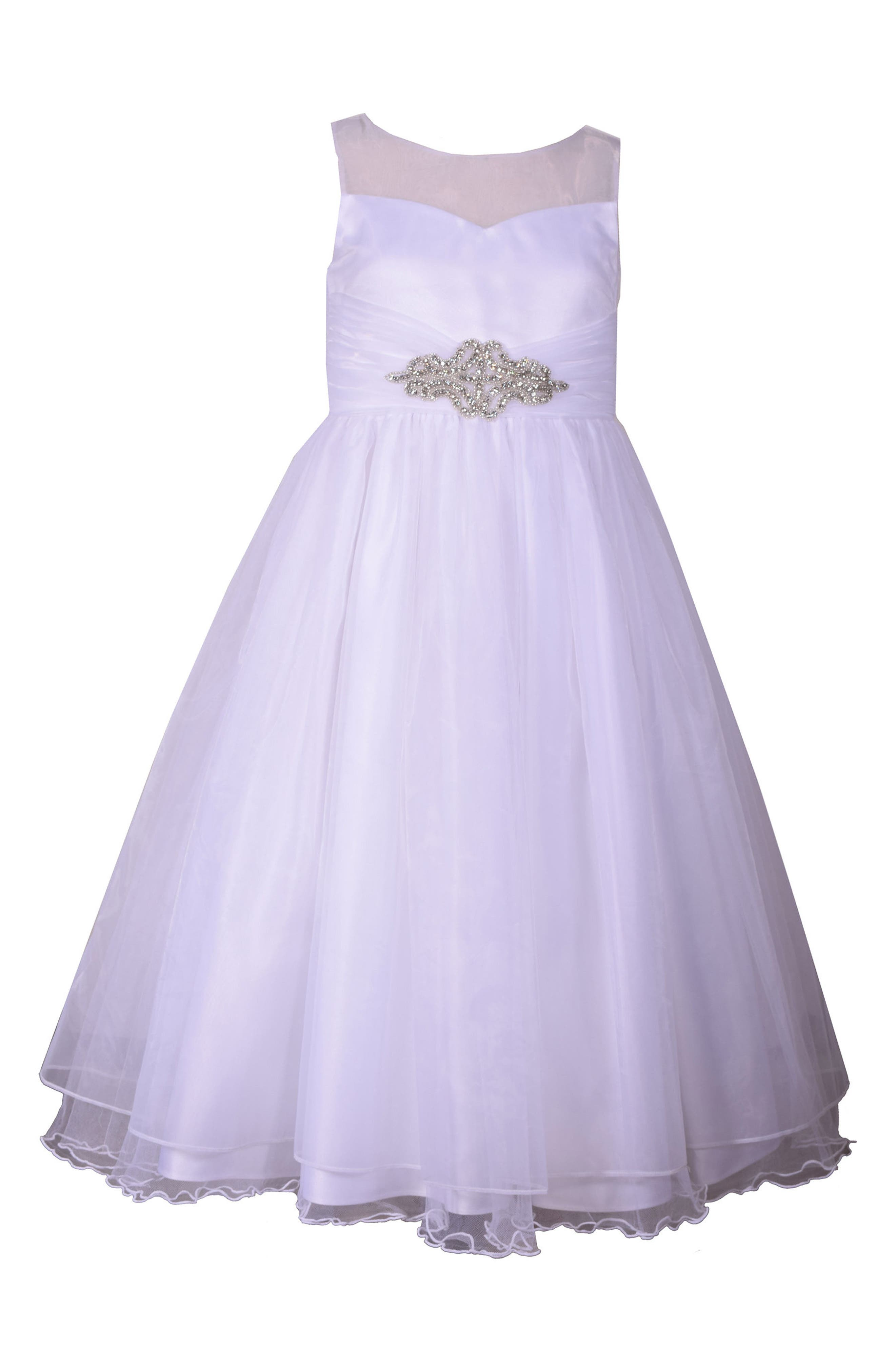 Embellished First Communion Dress,                         Main,                         color, White