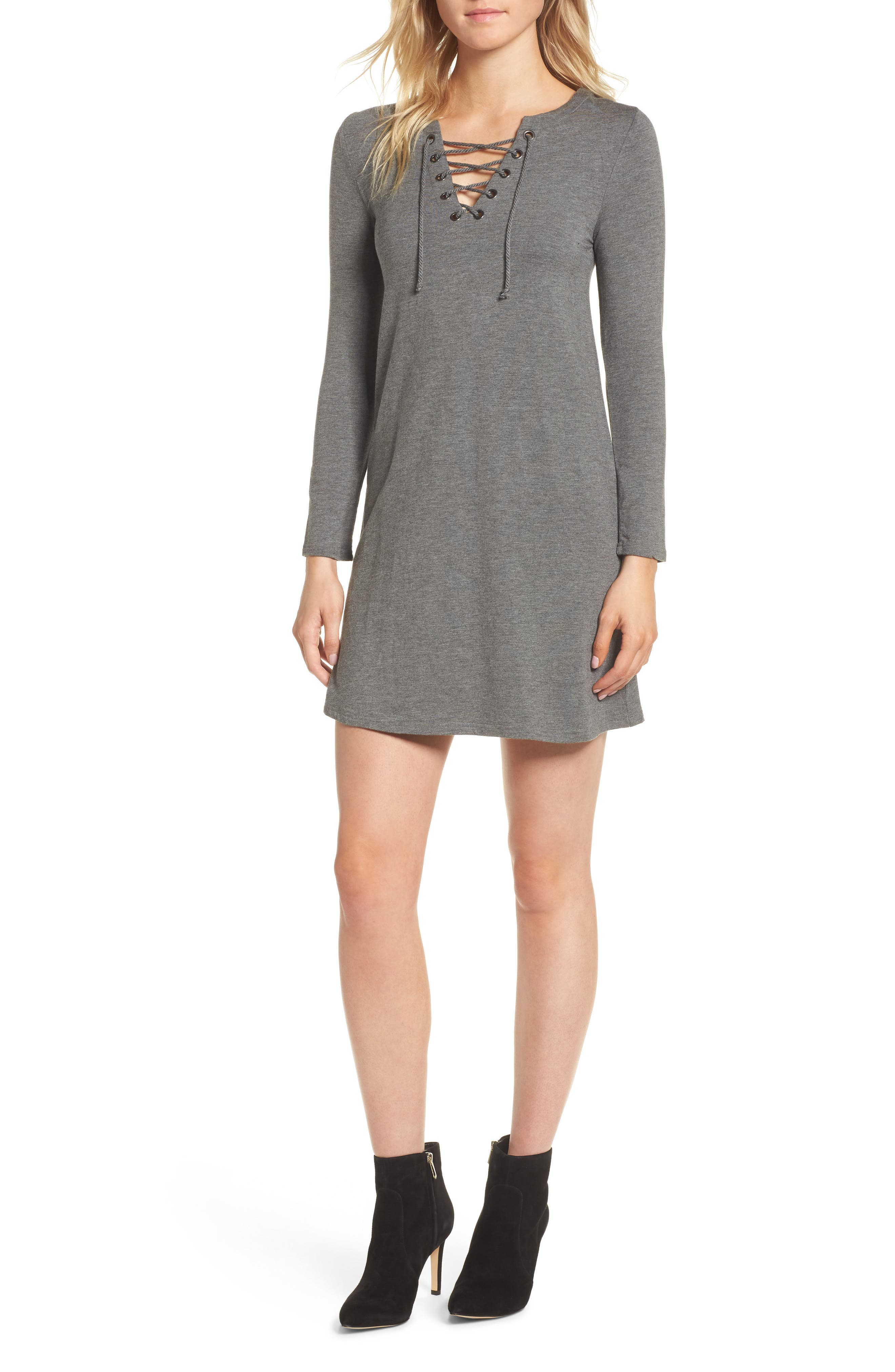 Celerina Lace-Up Minidress,                         Main,                         color, Med Heather Grey