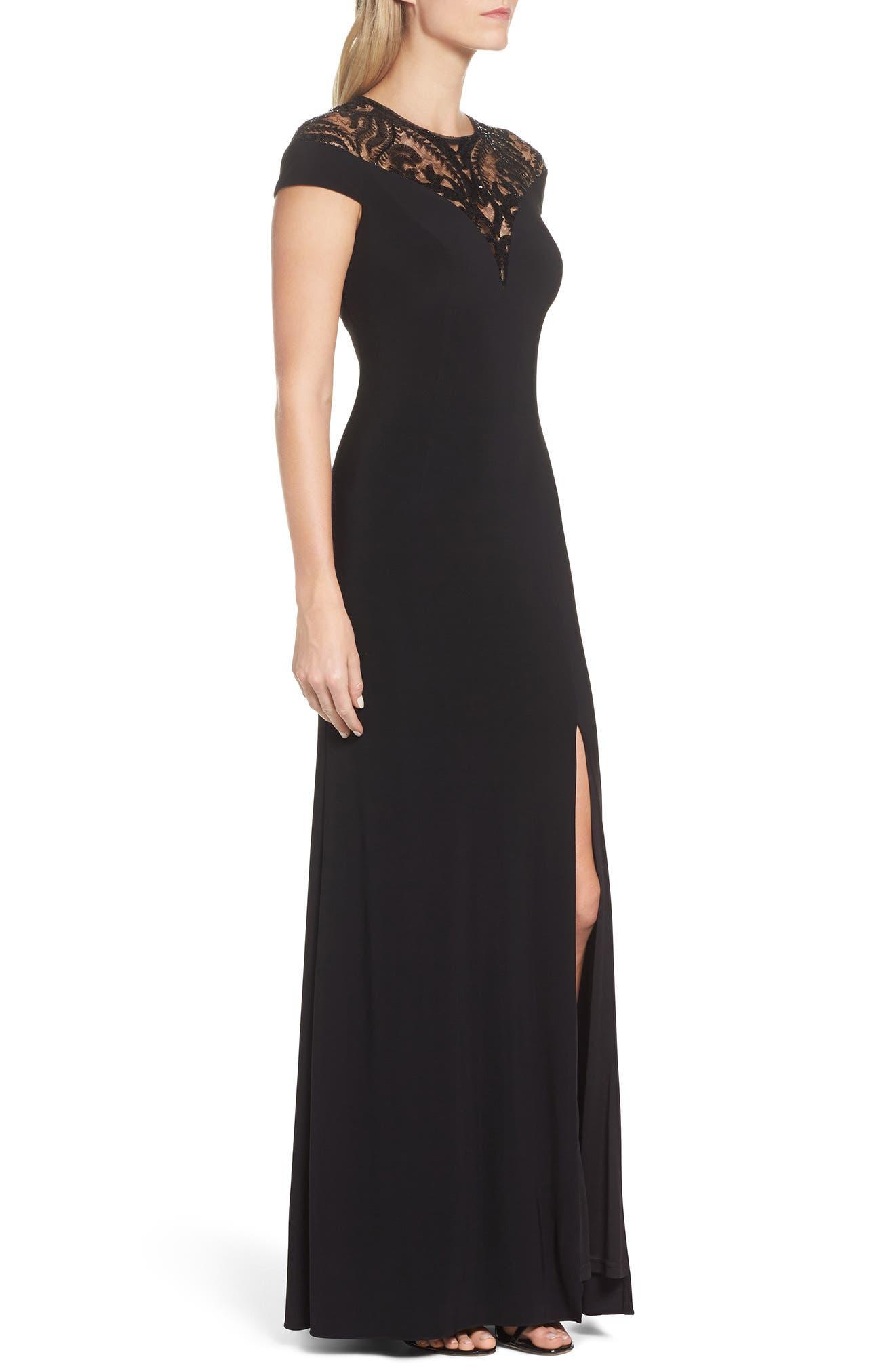 Sequin Embellished Gown,                             Alternate thumbnail 3, color,                             Black