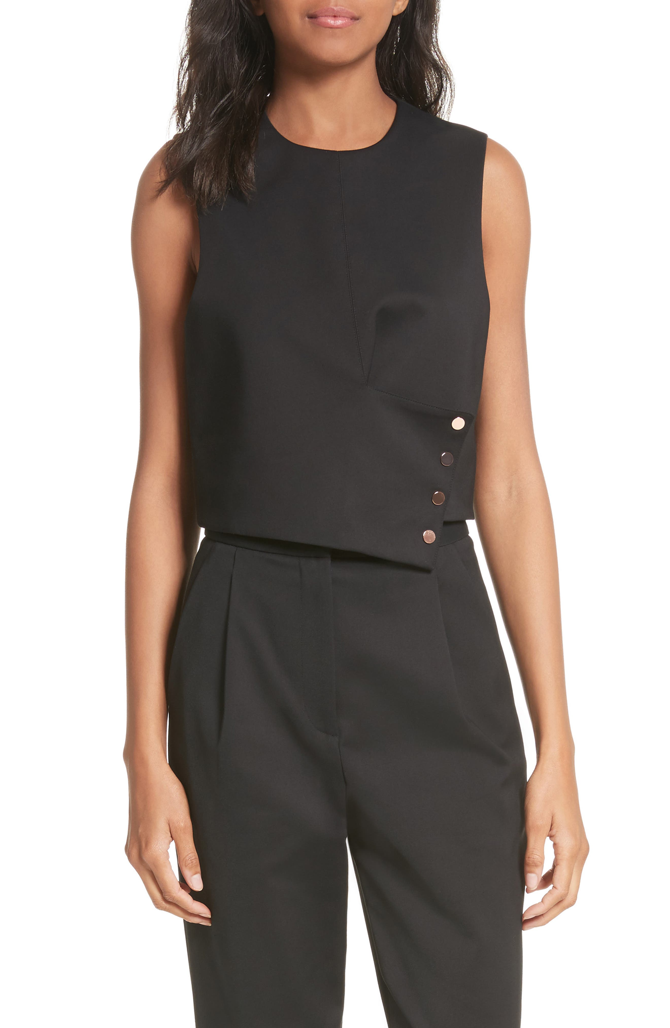 Asymmetrical Snap Flap Sleeveless Top,                         Main,                         color, Black