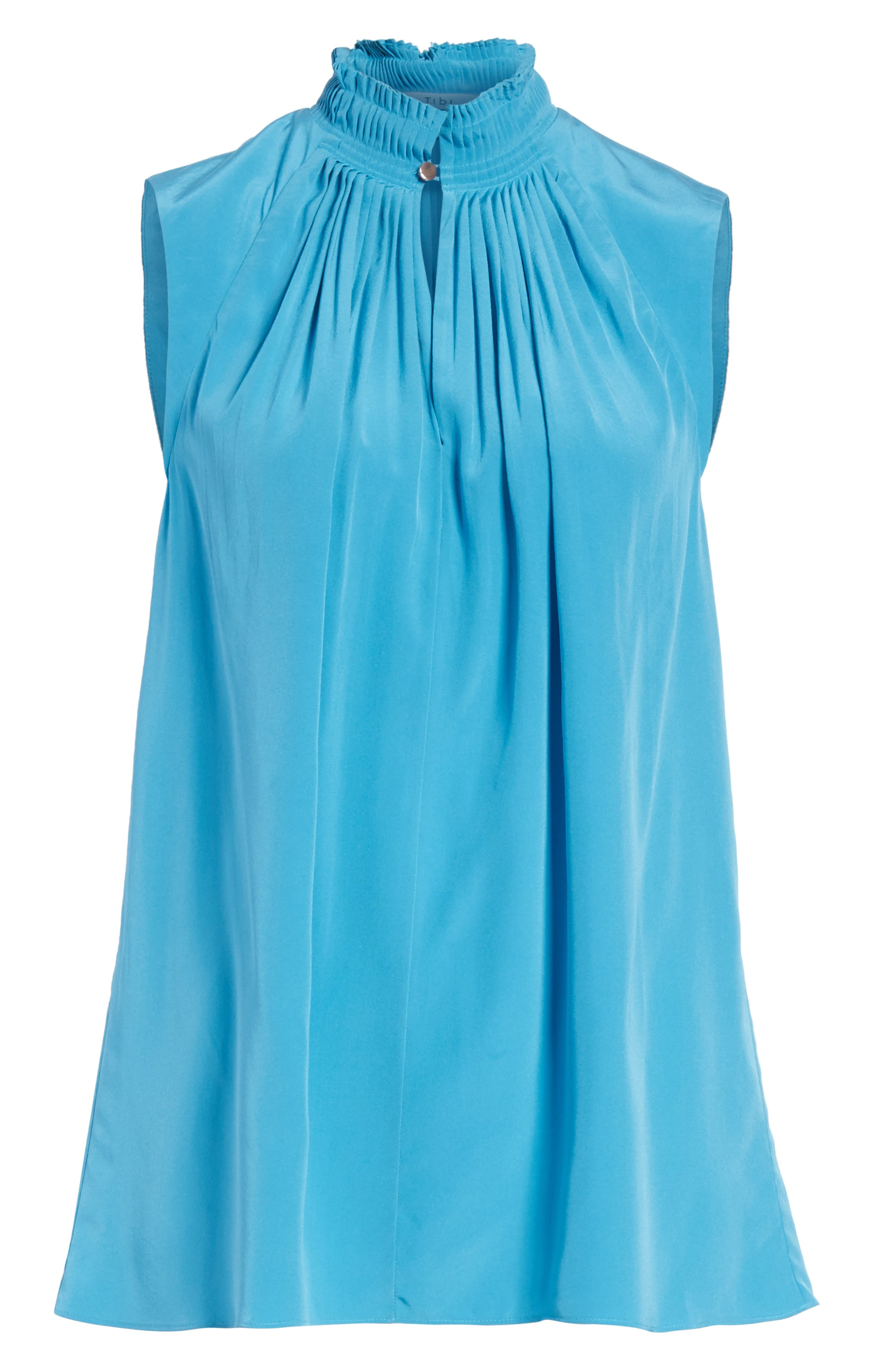 Arielle Sleeveless Silk Top,                             Alternate thumbnail 6, color,                             Bowery Blue