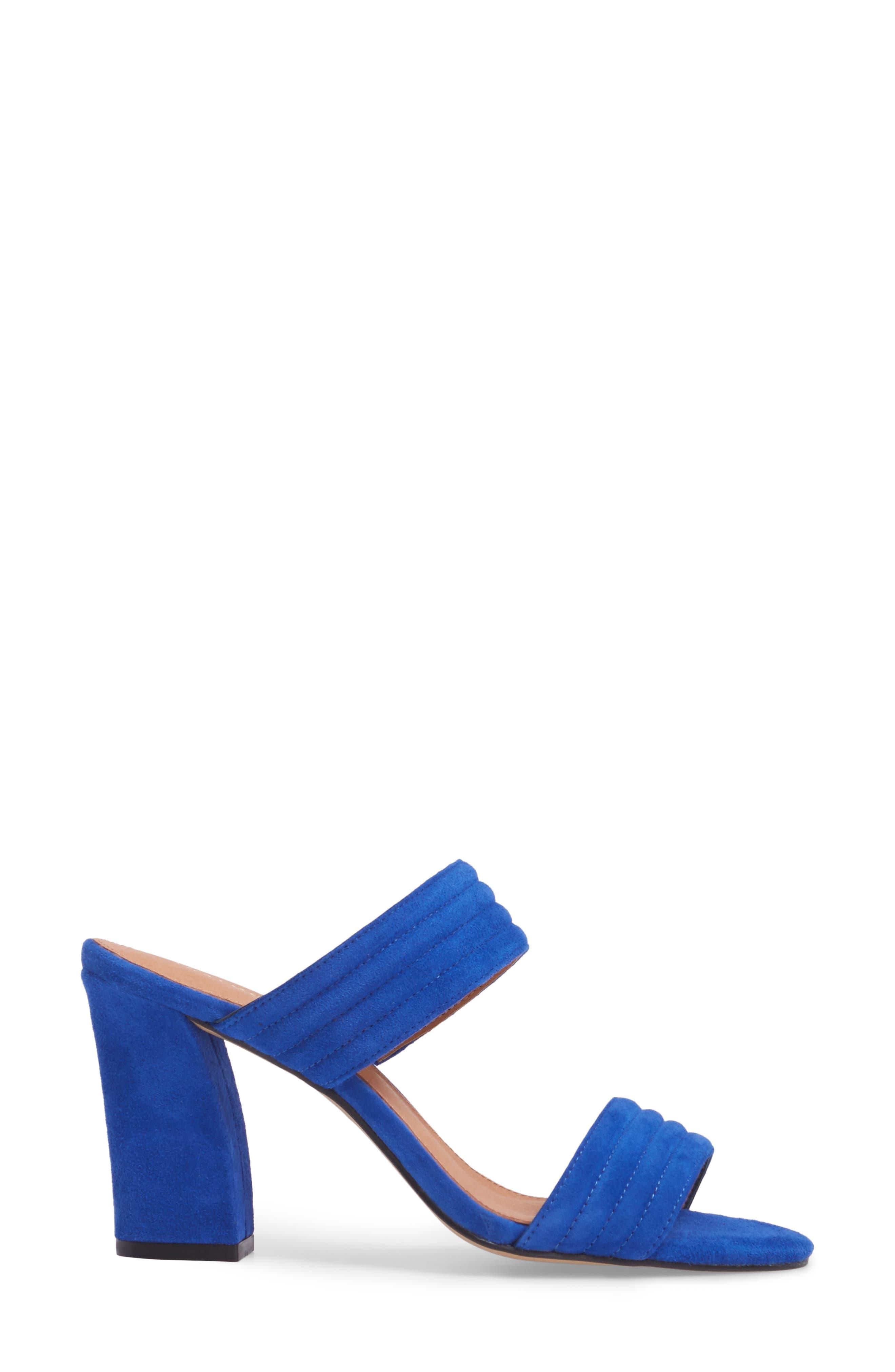 Della Slide Sandal,                             Alternate thumbnail 3, color,                             Cobalt Suede