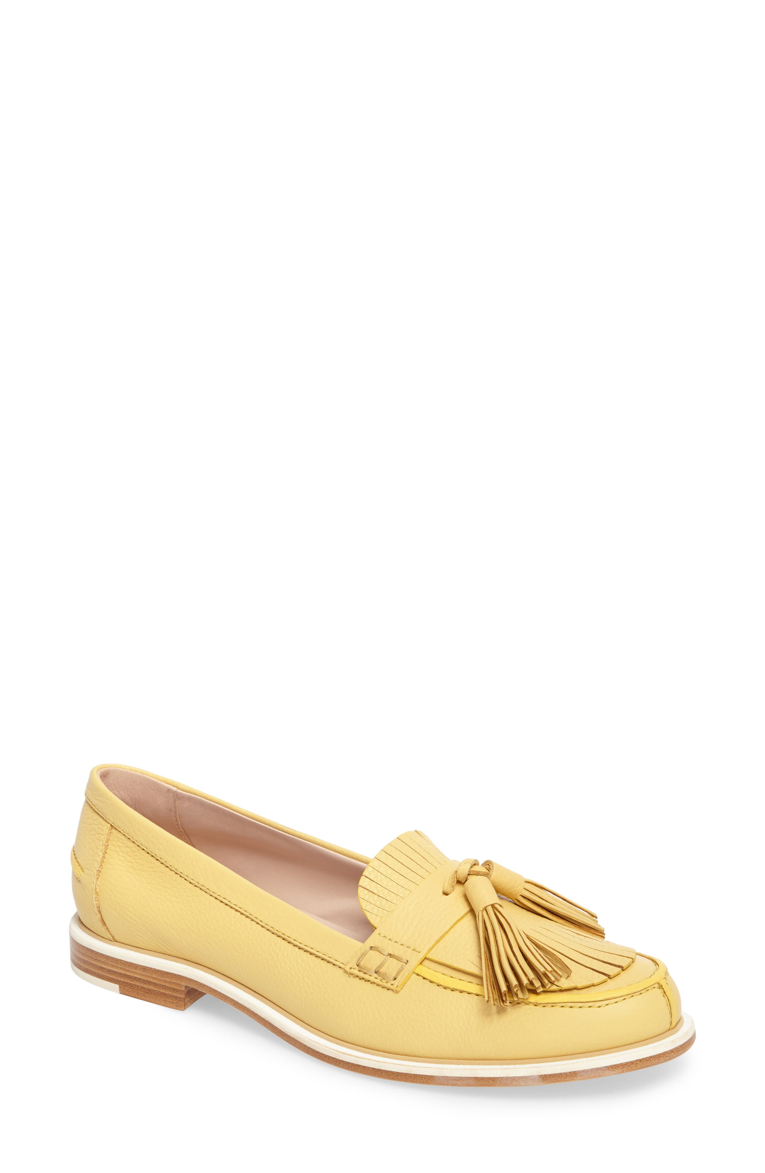 Fringe Tassel Loafer,                             Main thumbnail 1, color,                             Pale Yellow