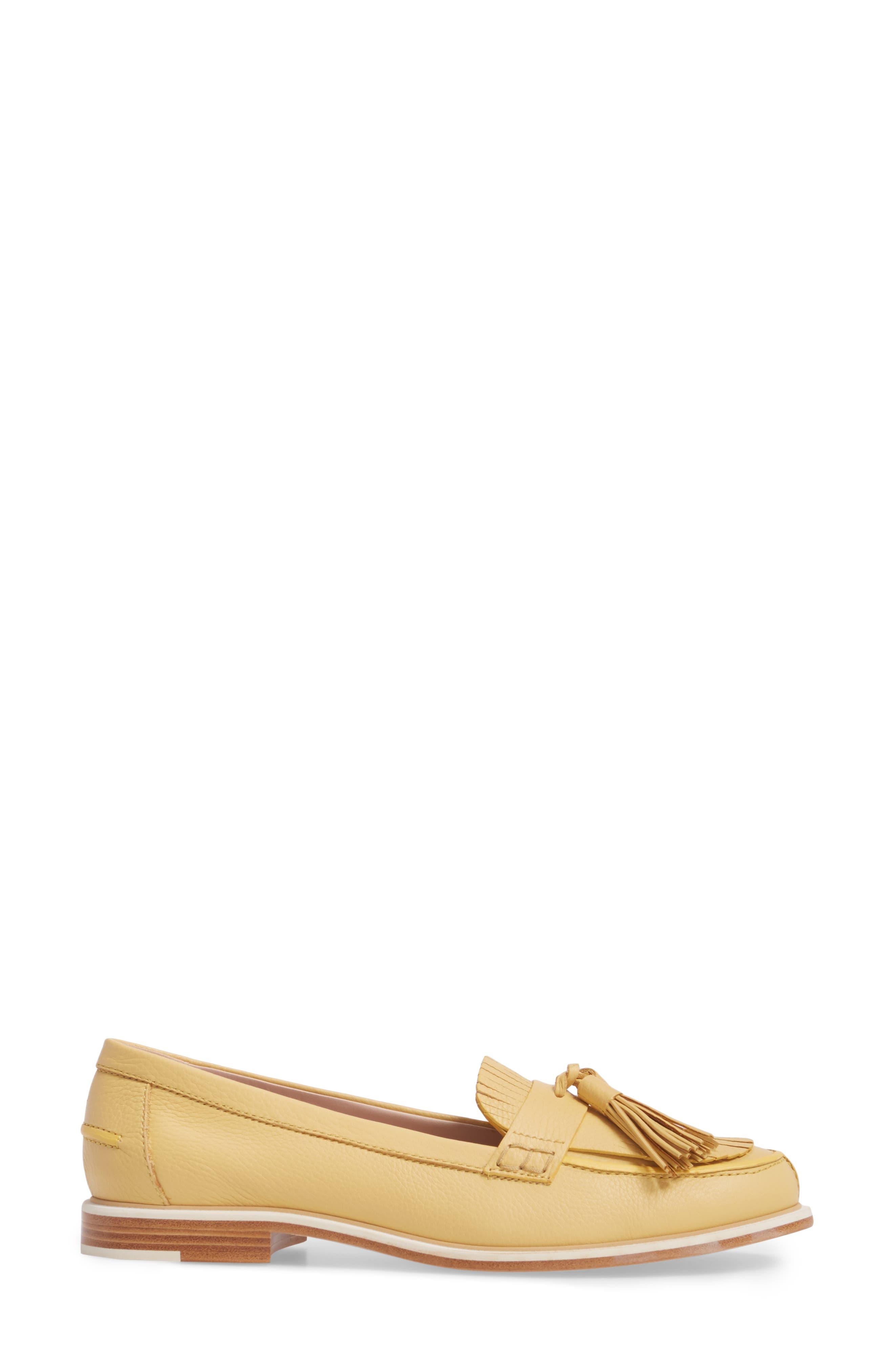 Fringe Tassel Loafer,                             Alternate thumbnail 3, color,                             Pale Yellow