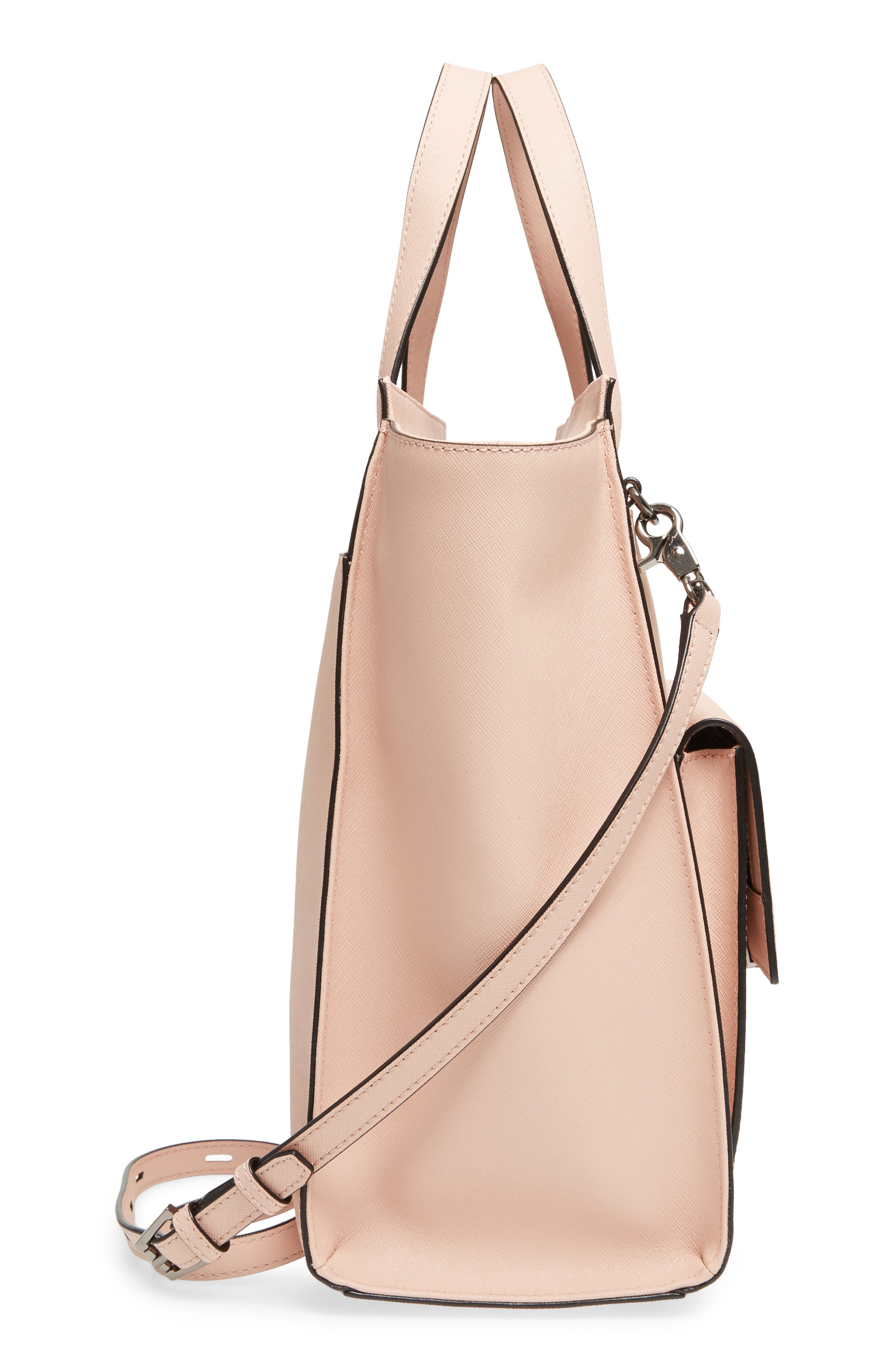 Jagger Leather Tote,                             Alternate thumbnail 5, color,                             Blush