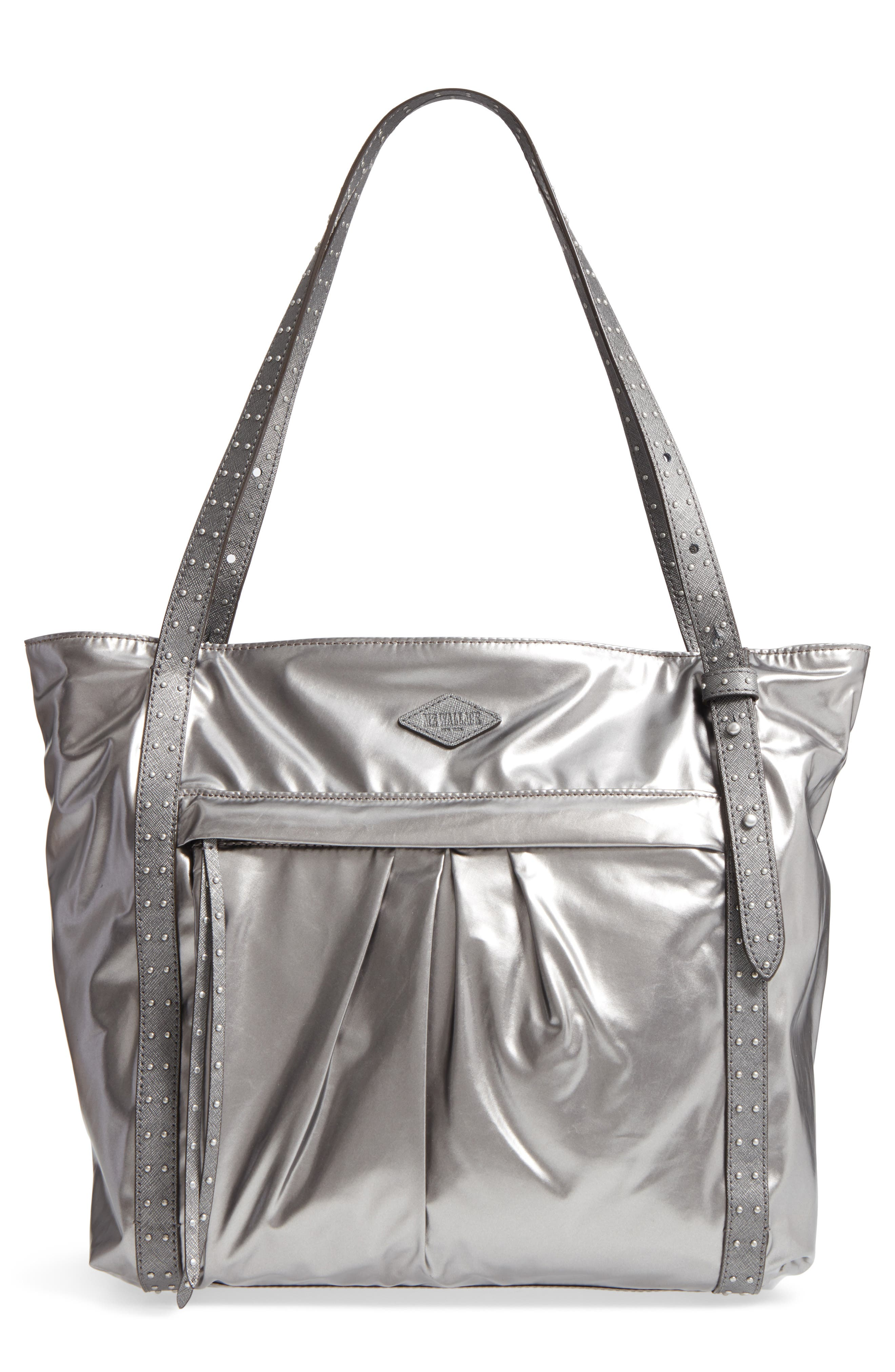 Harlow Bedford Nylon Tote,                         Main,                         color, Pewter Leather Cococha