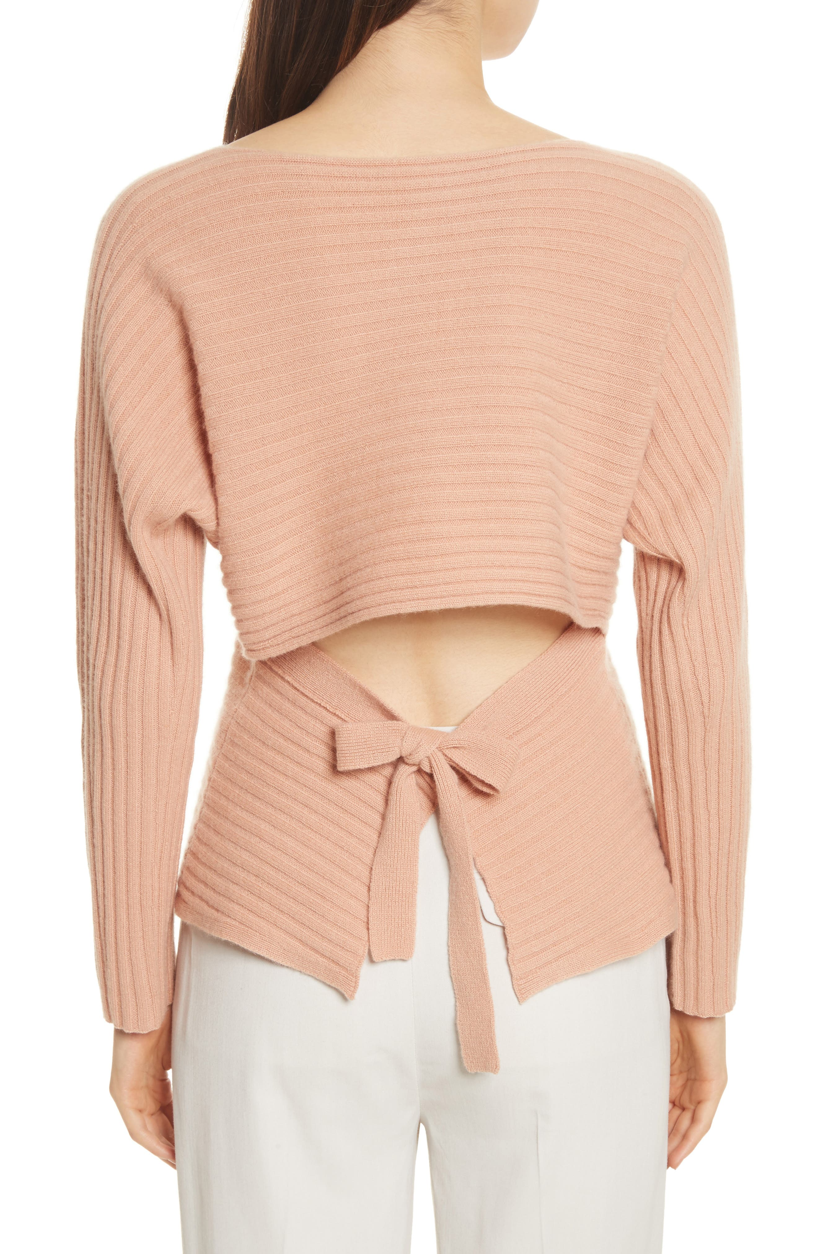 Tie Back Wool & Cashmere Sweater,                             Alternate thumbnail 2, color,                             Blush