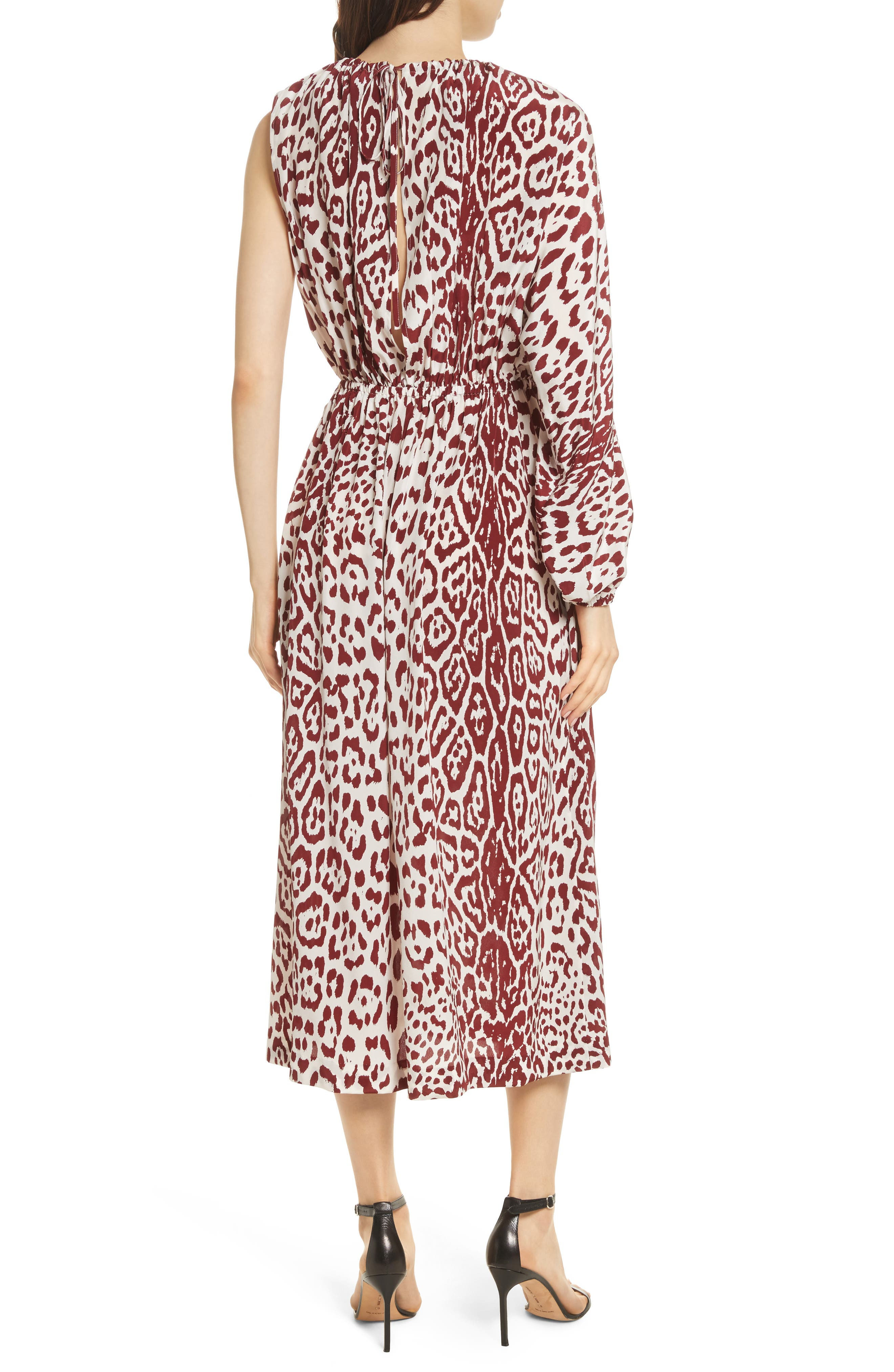 Leopard Print Silk Midi Dress,                             Alternate thumbnail 2, color,                             Crimson Leopard