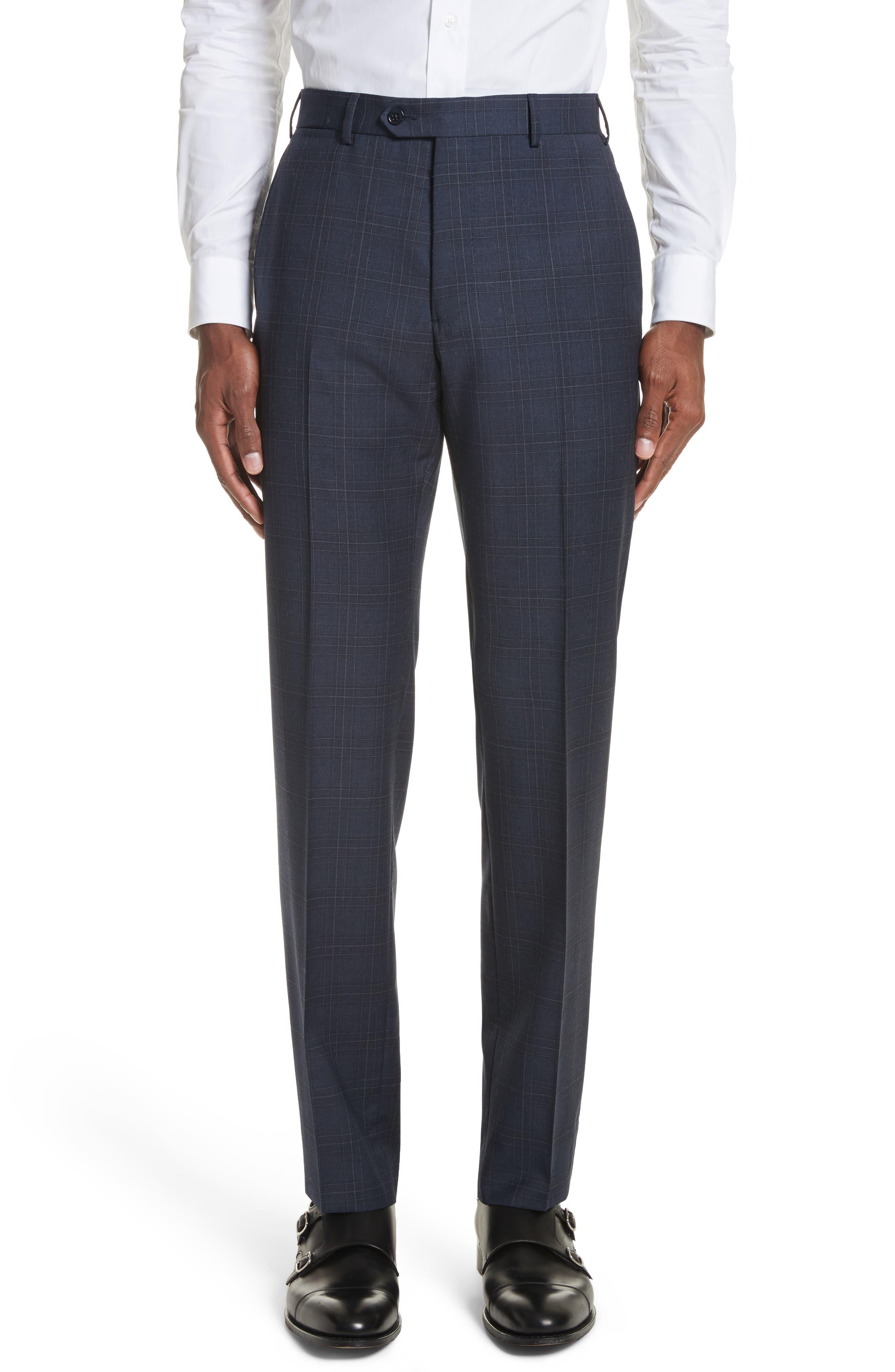 G Line Trim Fit Plaid Wool Suit,                             Alternate thumbnail 6, color,                             Navy