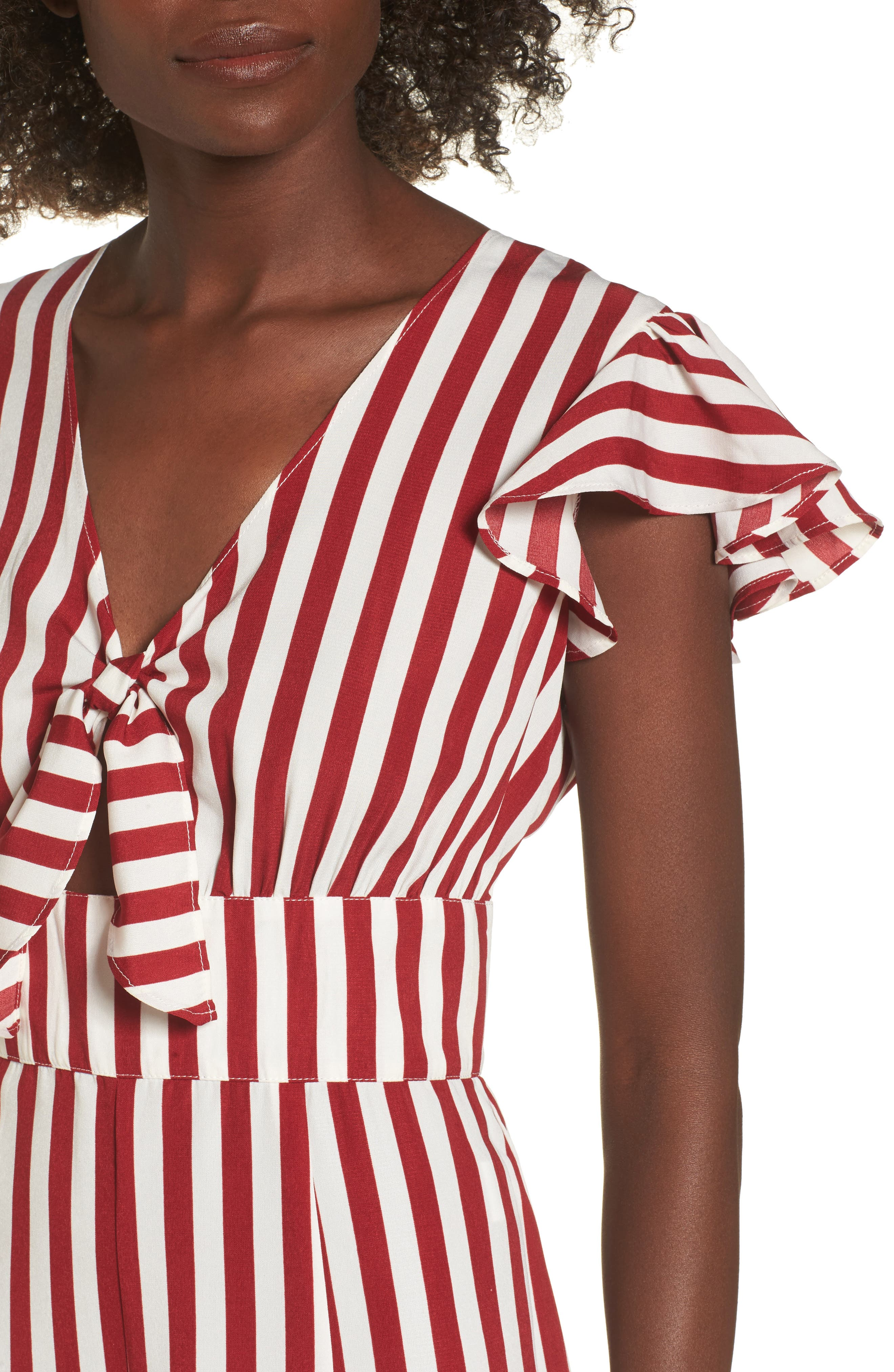 Tie Front Wide Leg Jumpsuit,                             Alternate thumbnail 4, color,                             Red White Stripe