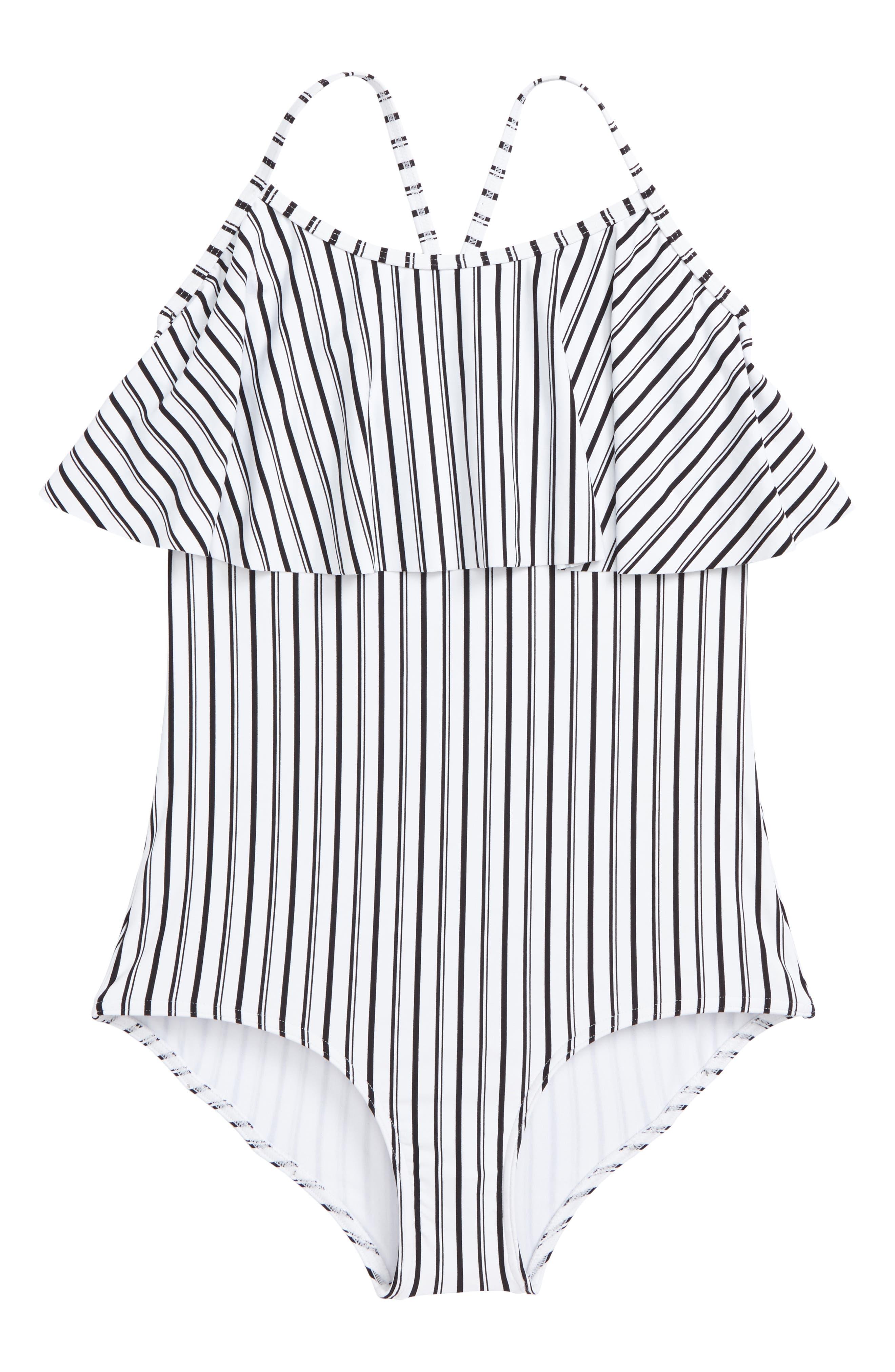 Highway Stripe One-Piece Swimsuit,                             Main thumbnail 1, color,                             White W/ Black - Wbk