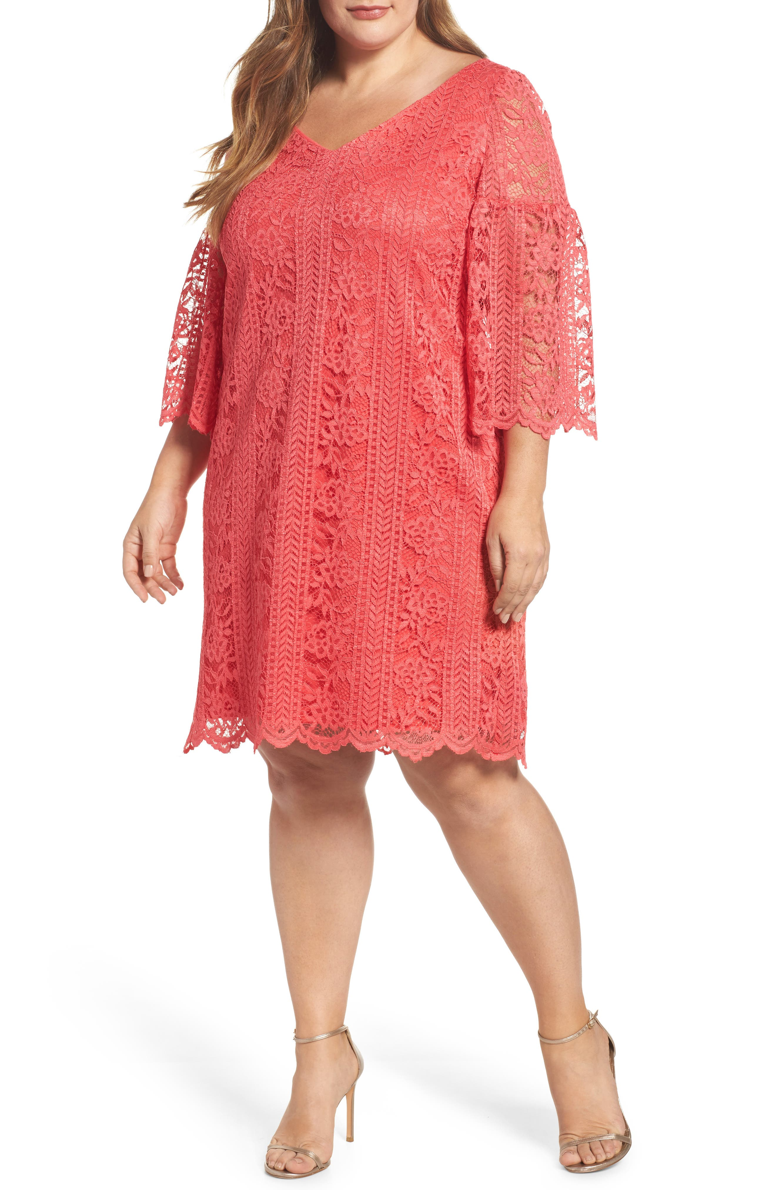 Bell Sleeve Lace Shift Dress,                         Main,                         color, Hot Coral